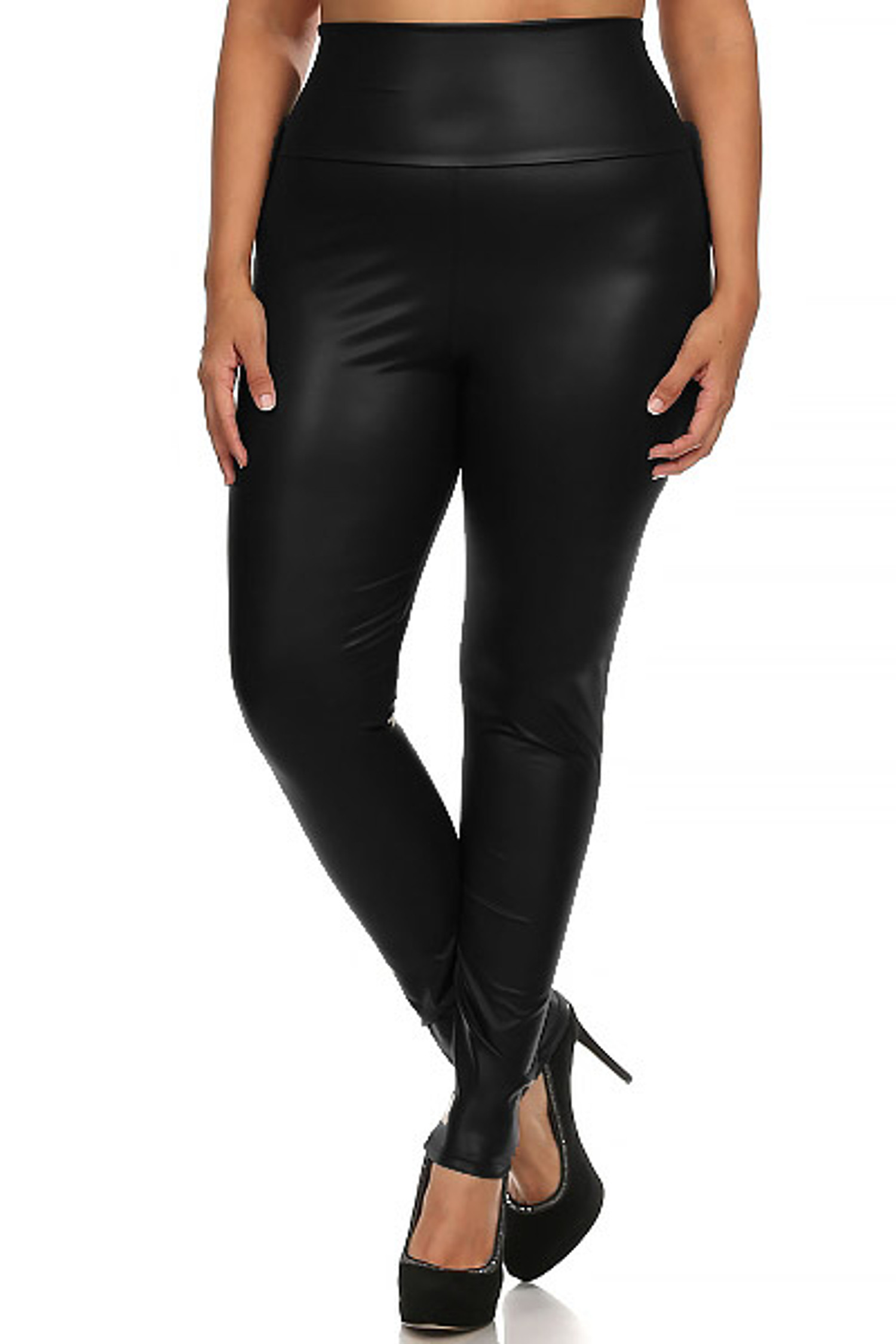 Black Matte High Waisted Black Faux Leather Plus Size Leggings