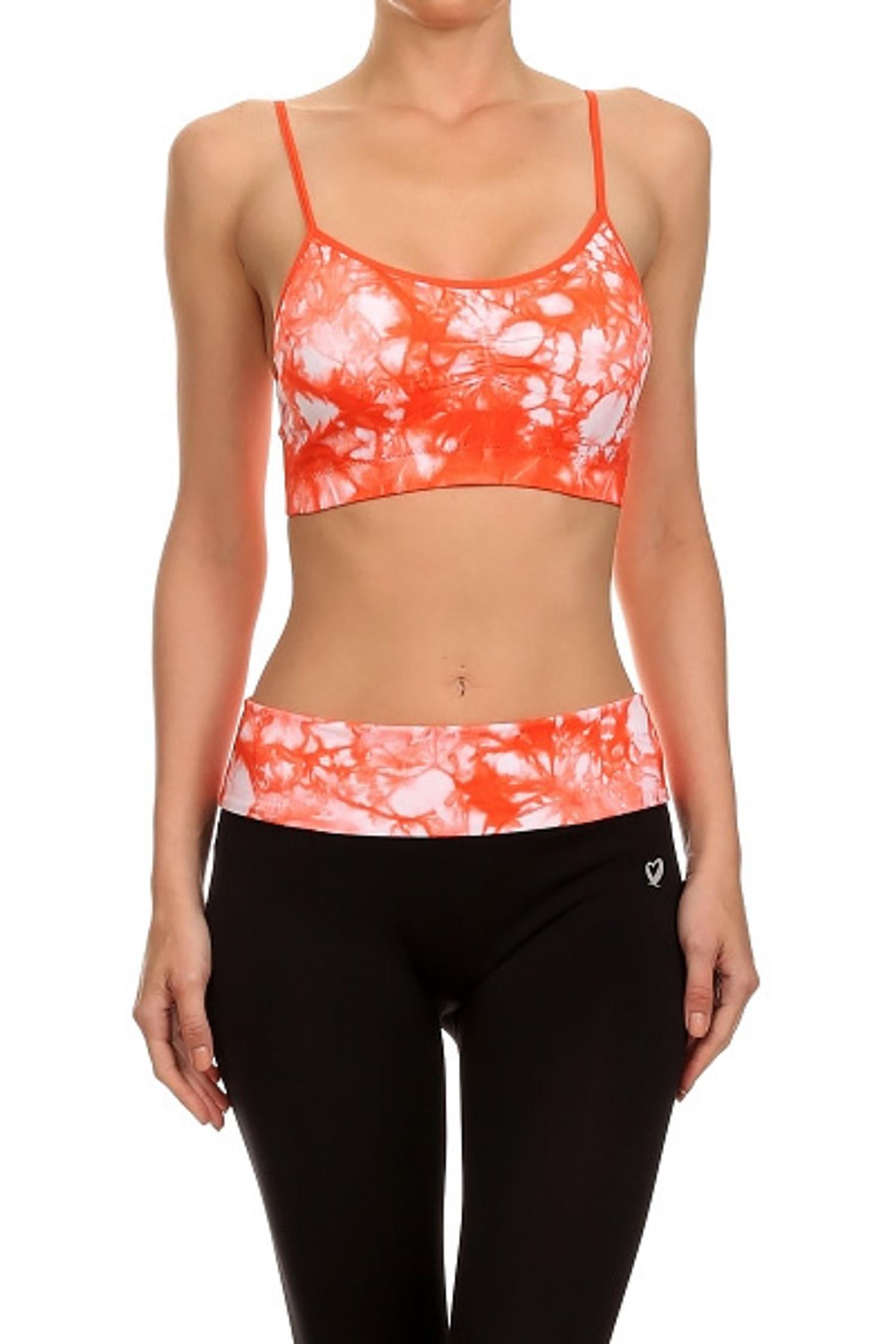 Coral Groovy Tie Dye Sports Bra