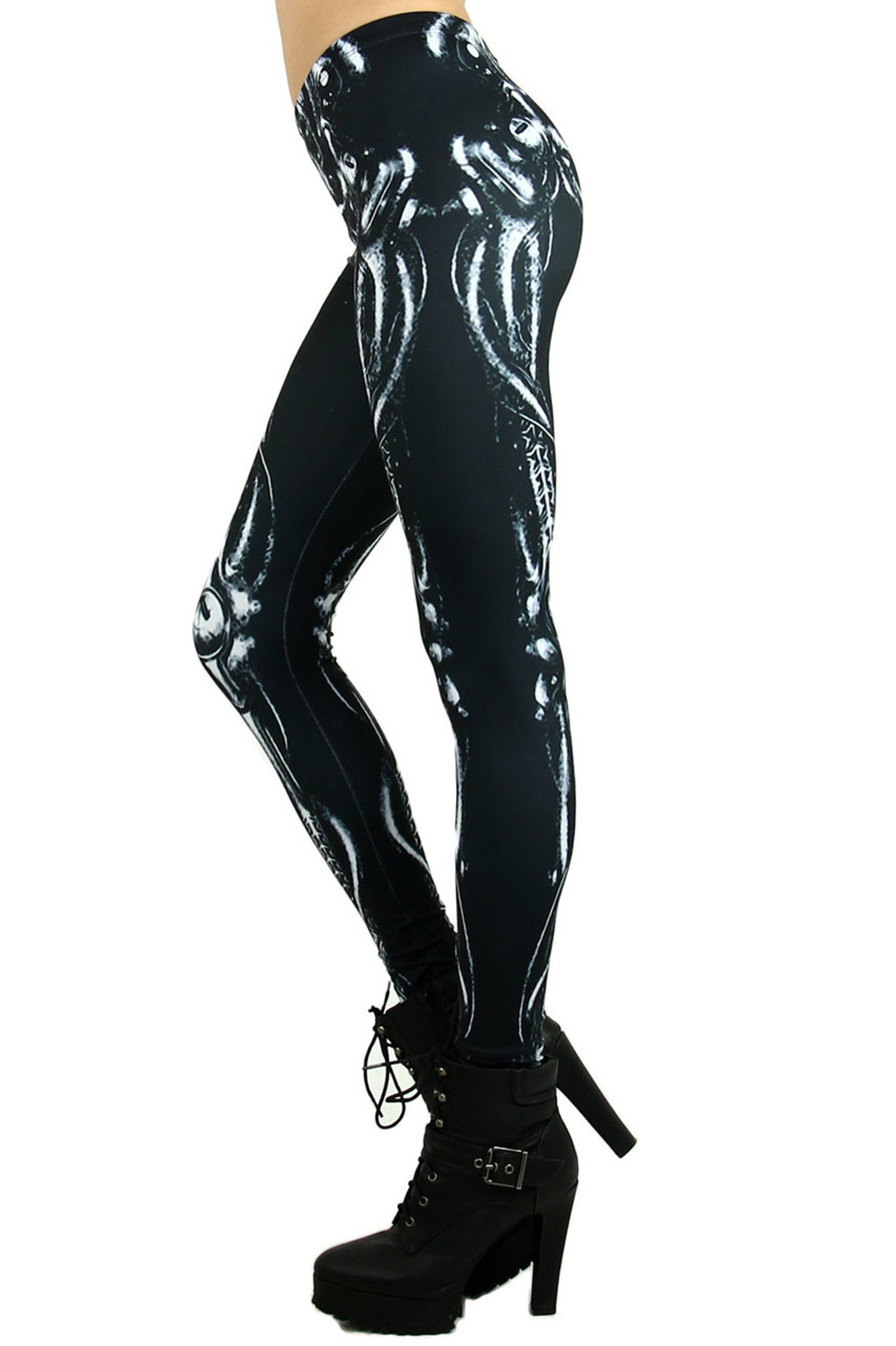 Black Mechanical Skeleton Leggings