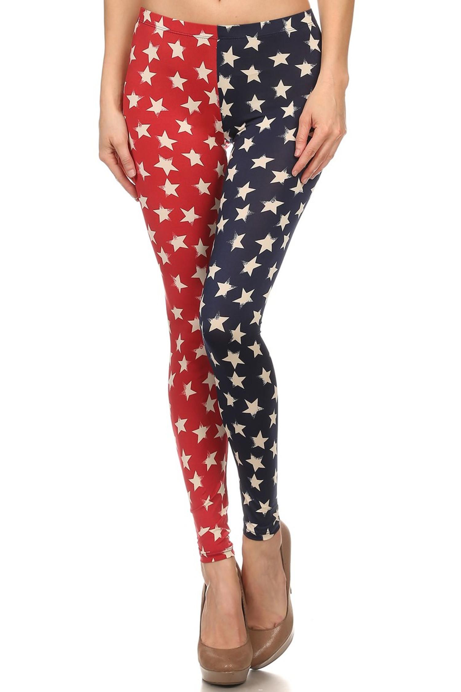 Split Red and Blue USA Leggings