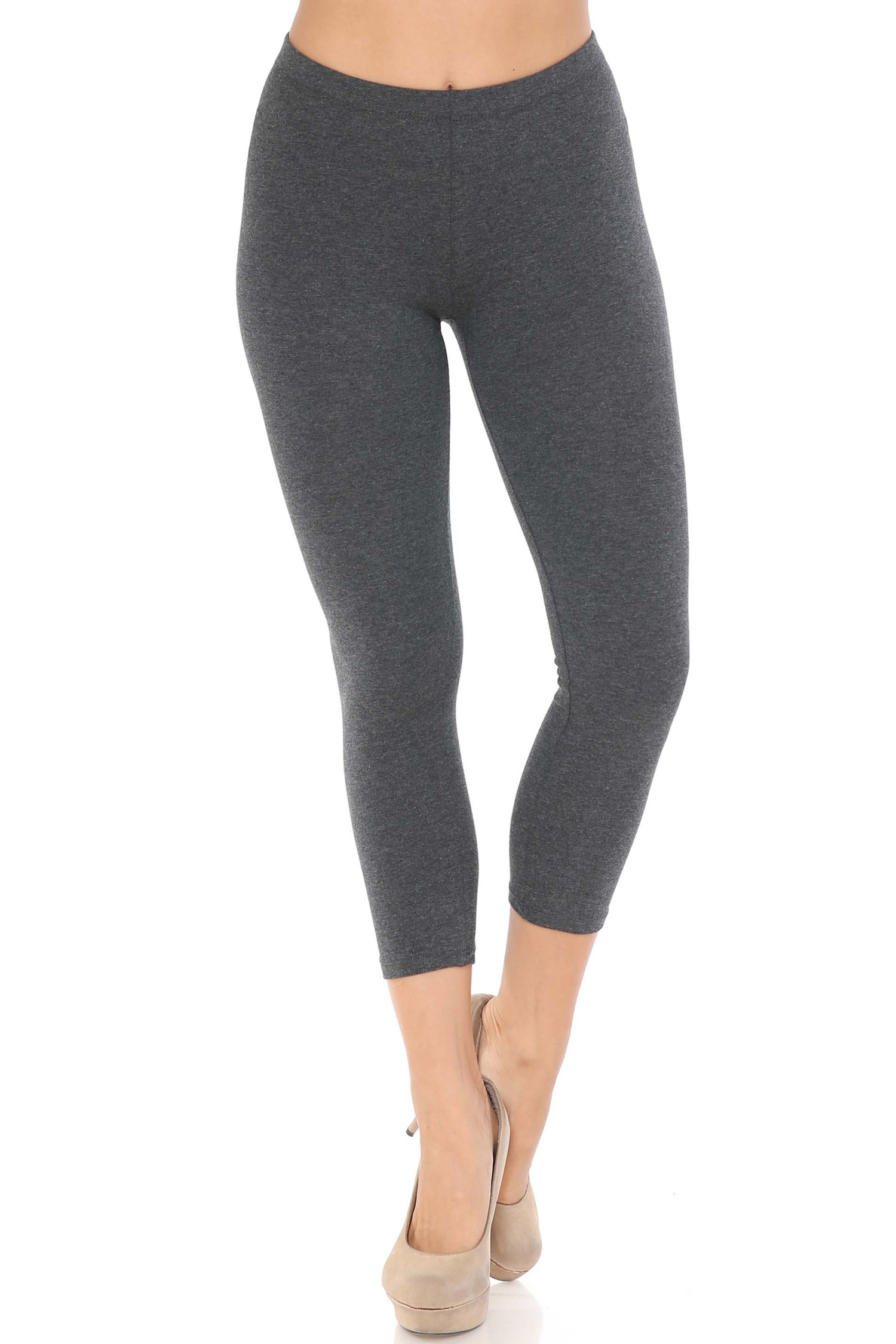 Front view of charcoal USA Cotton Capri Length Leggings