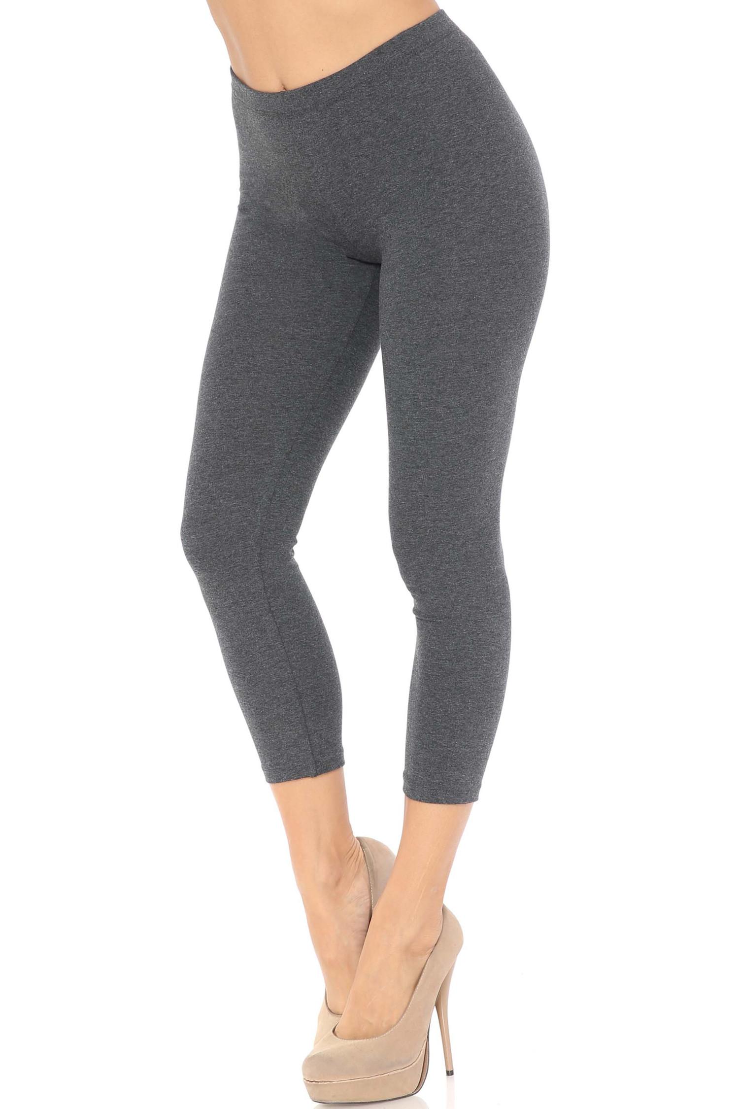 45 degree angle of charcoal USA Cotton Capri Length Leggings