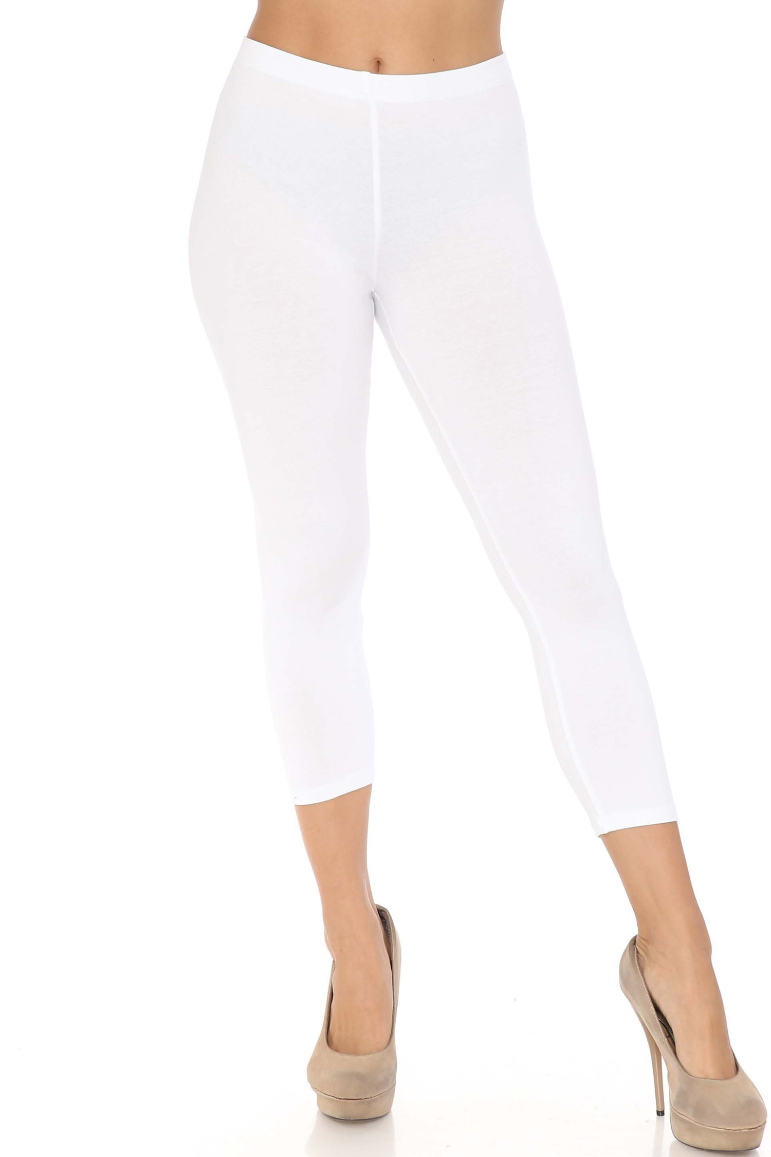 Front view of white USA Cotton Capri Length Leggings
