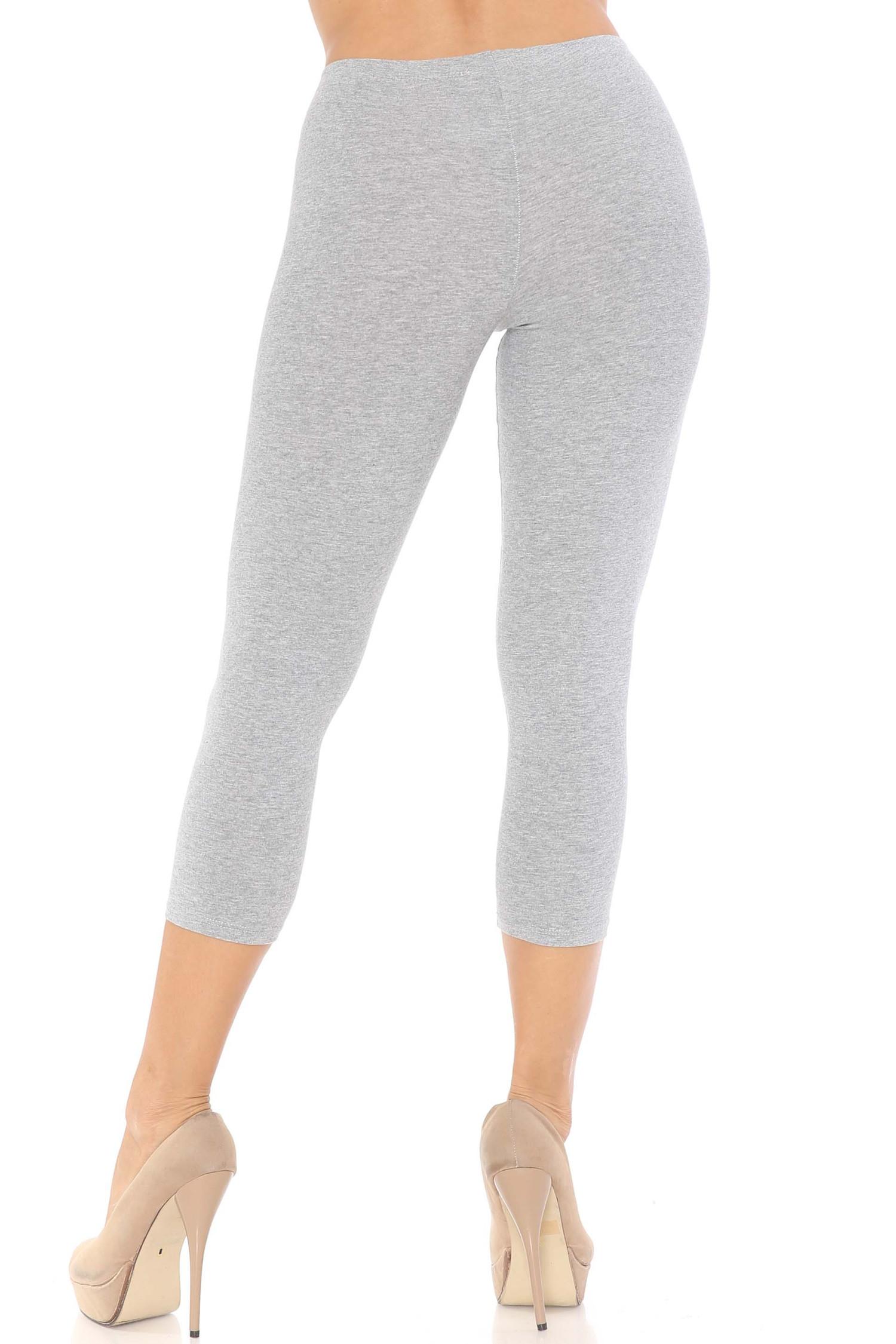 Rear view of heather gray USA Cotton Capri Length Leggings