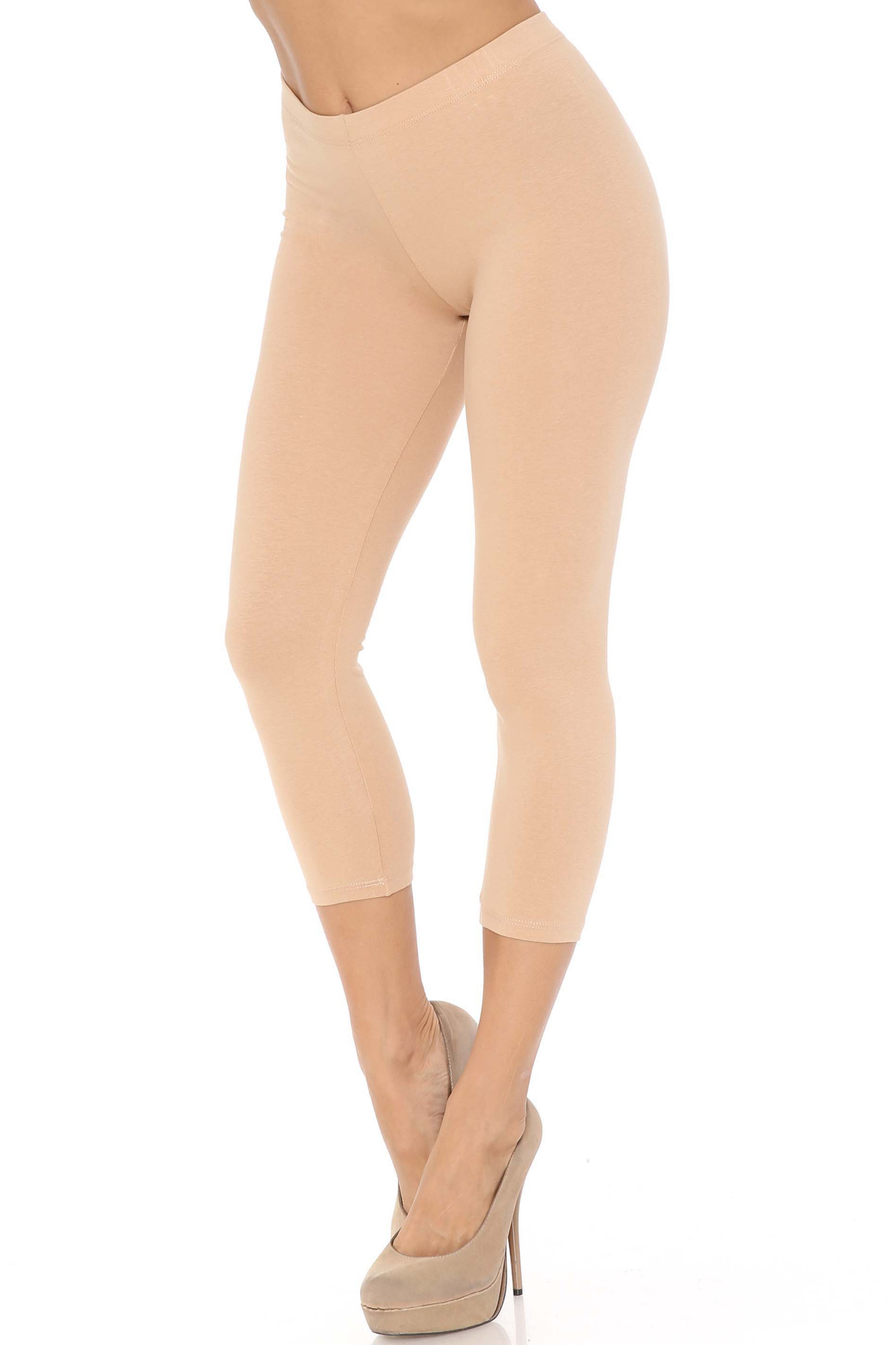 45 degree angle of beige USA Cotton Capri Length Leggings