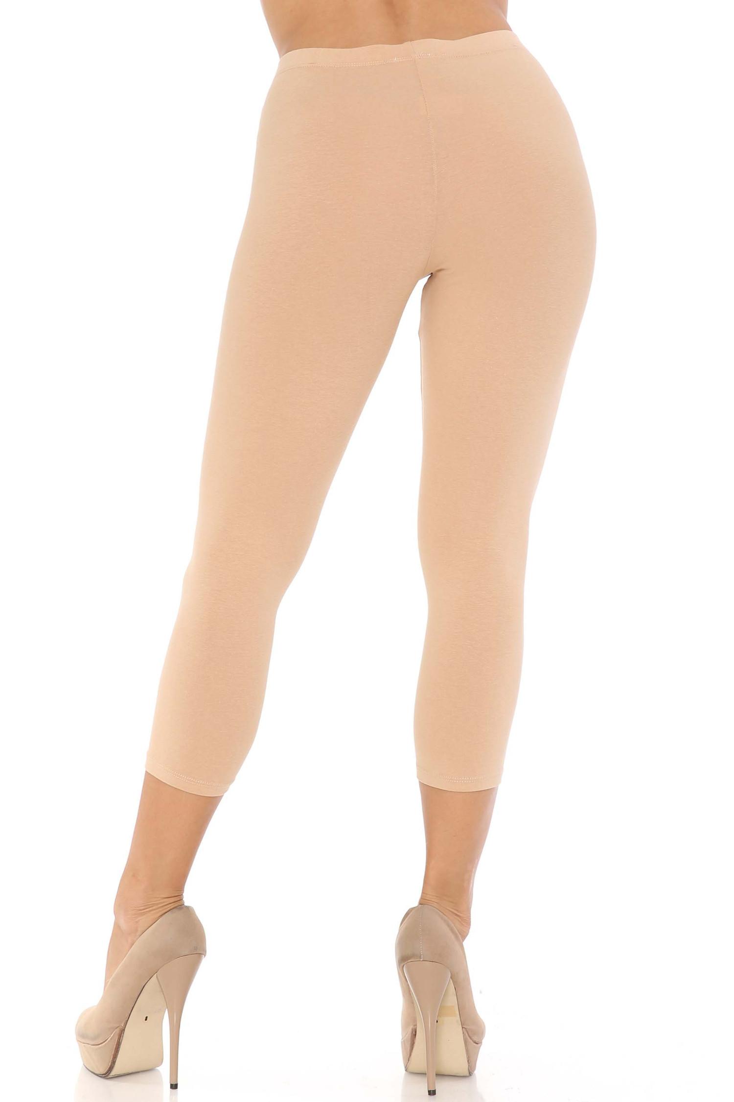 Rear view of beige USA Cotton Capri Length Leggings