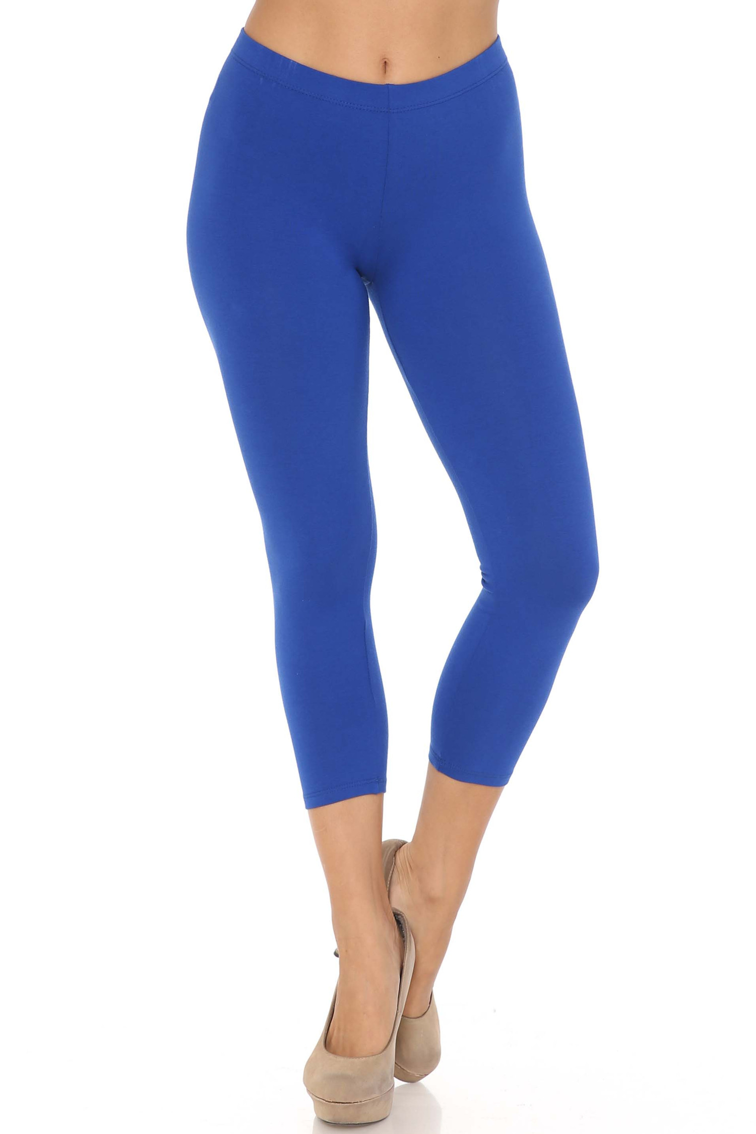 Front view of blue USA Cotton Capri Length Leggings
