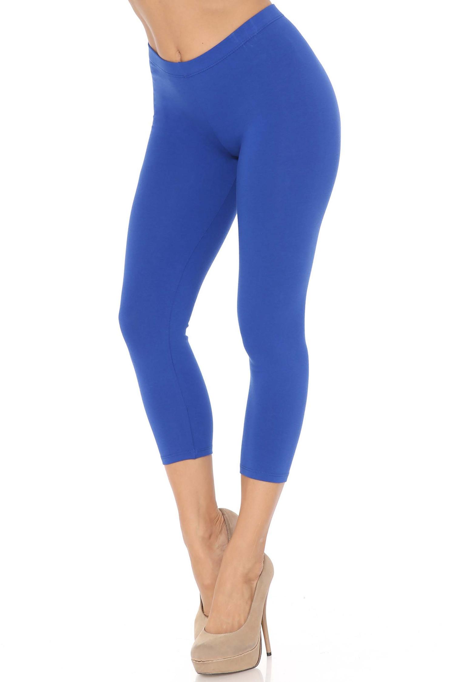 45 degree angle of blue USA Cotton Capri Length Leggings