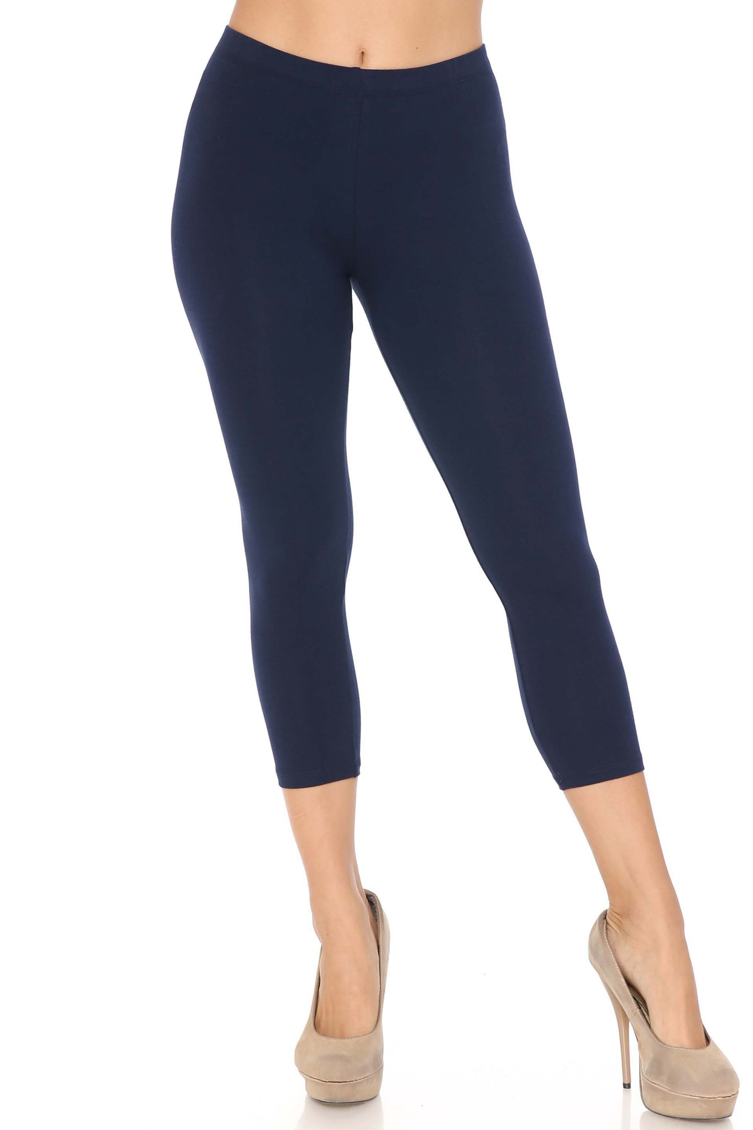 Front view of navy USA Cotton Capri Length Leggings