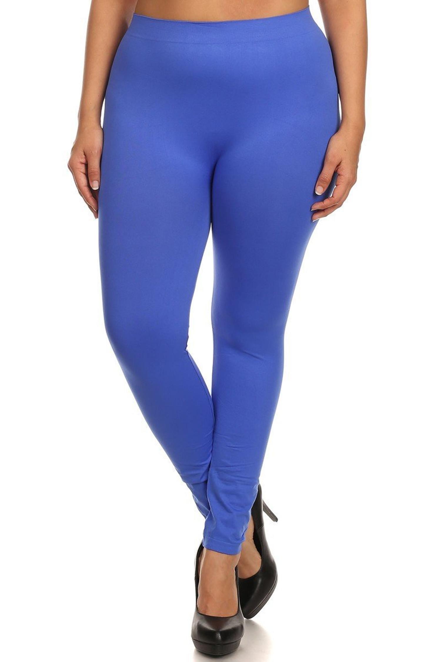 Royal Blue Full Length Nylon Spandex Leggings - Plus Size