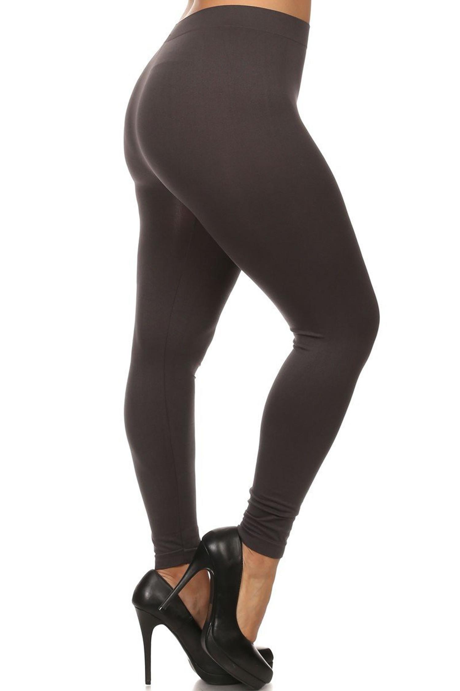 Charcoal Full Length Nylon Spandex Leggings - Plus Size