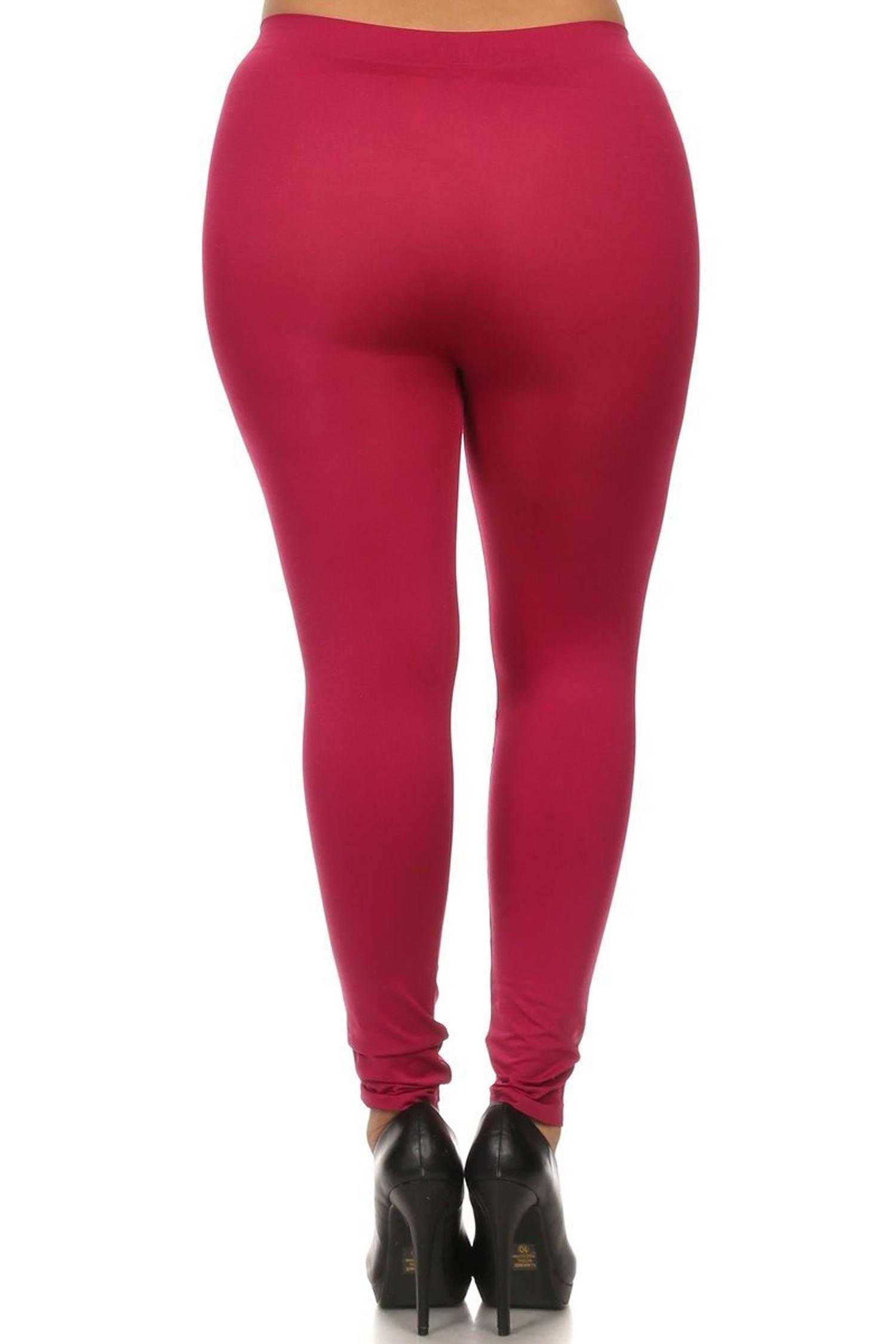 Raspberry Full Length Nylon Spandex Leggings - Plus Size
