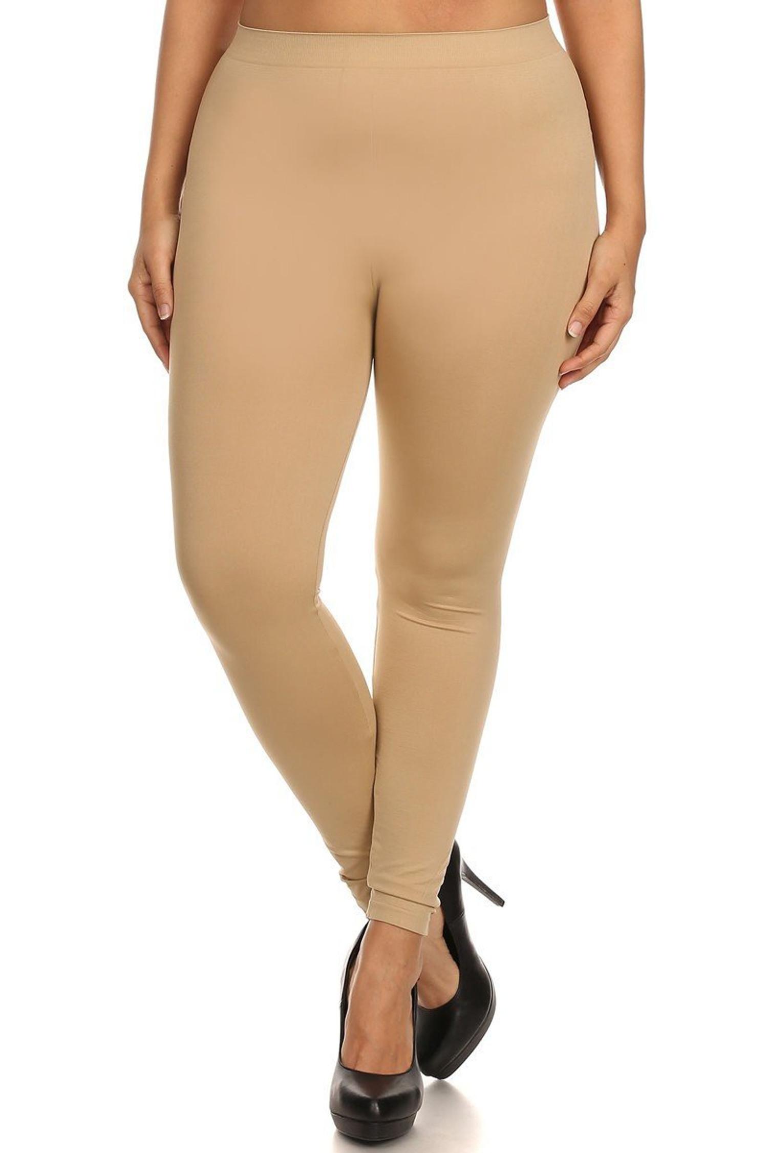 Beige Full Length Nylon Spandex Leggings - Plus Size