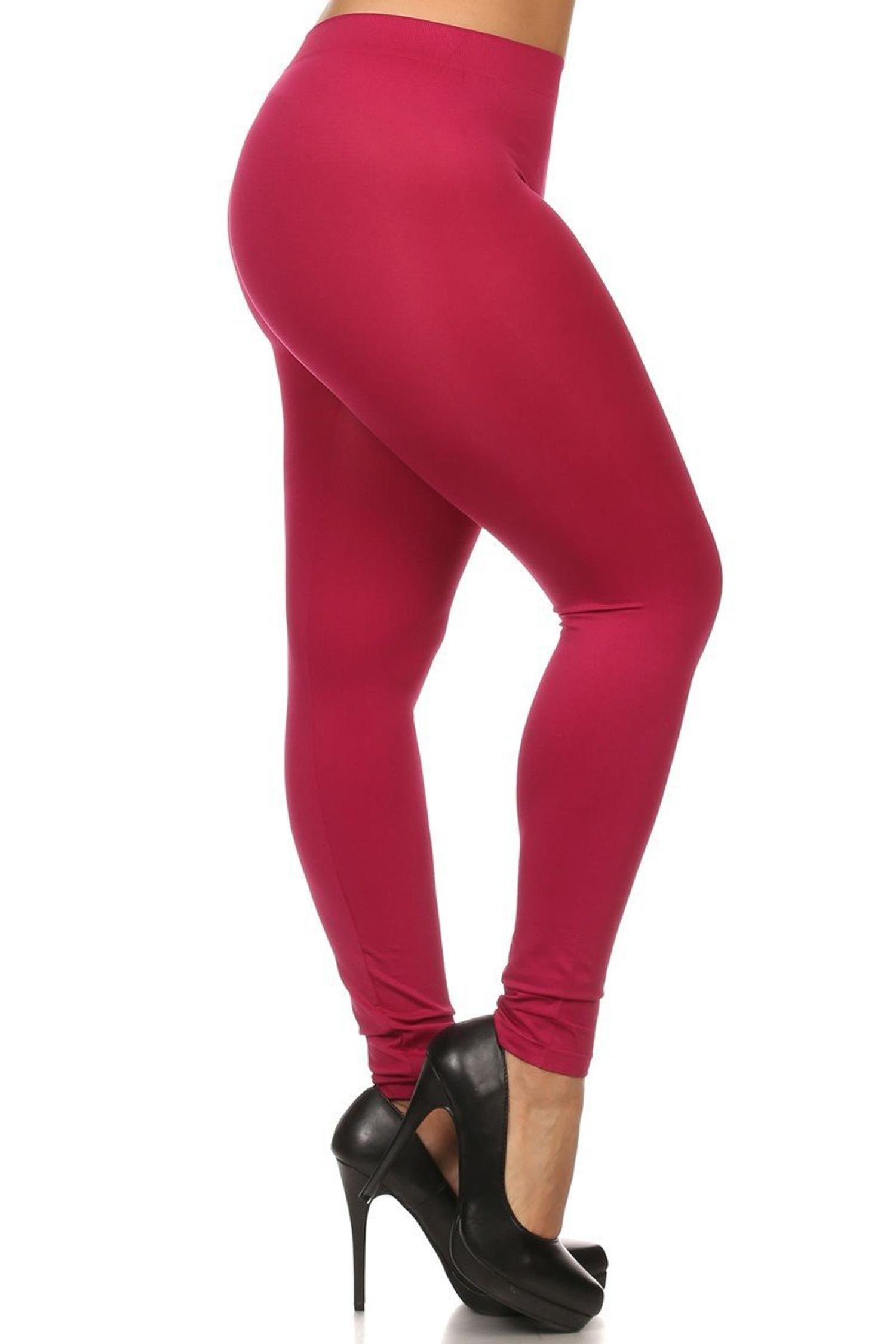 Burgundy Full Length Nylon Spandex Leggings - Plus Size