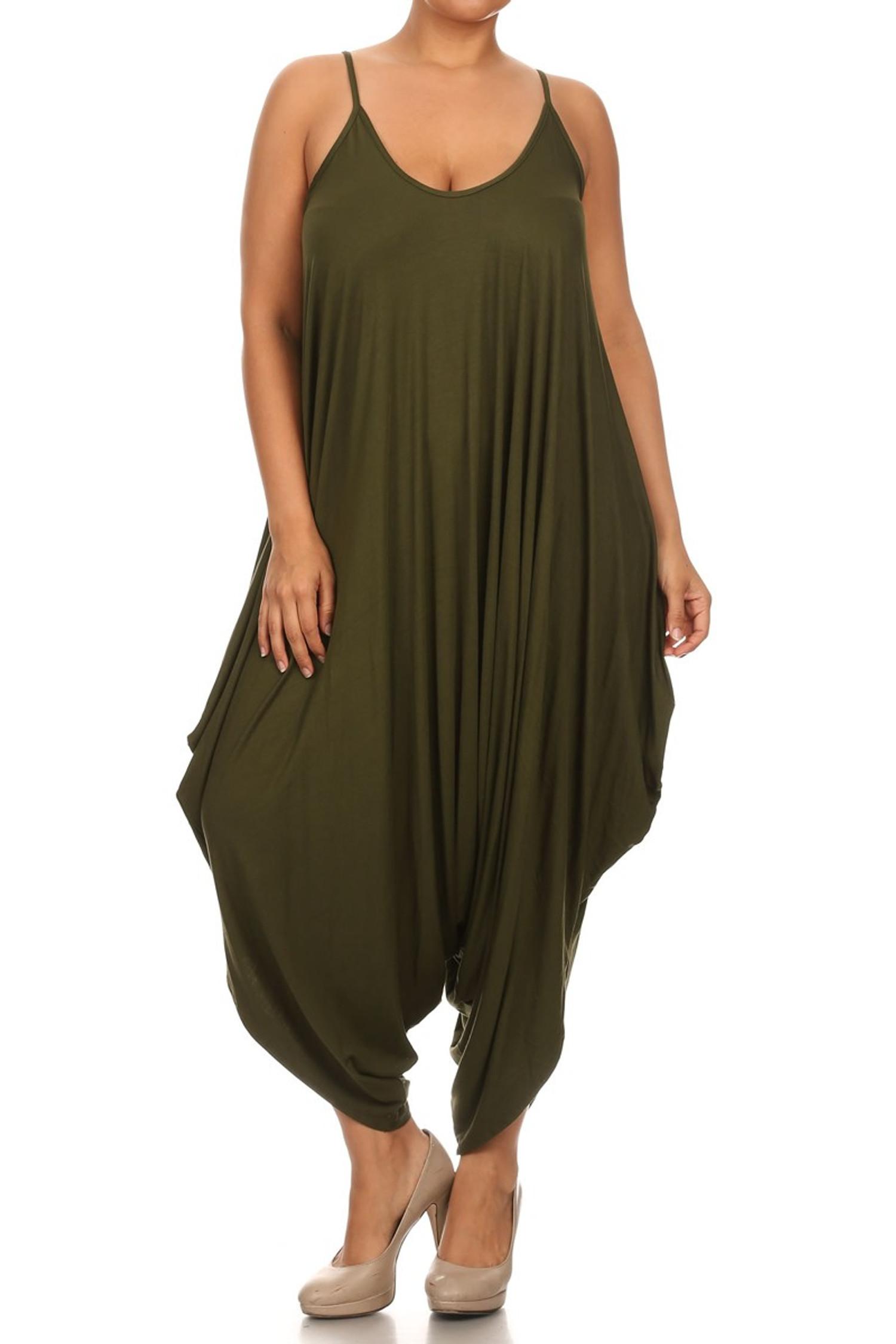 Olive Bohemian Harem Jumpsuit - Plus Size