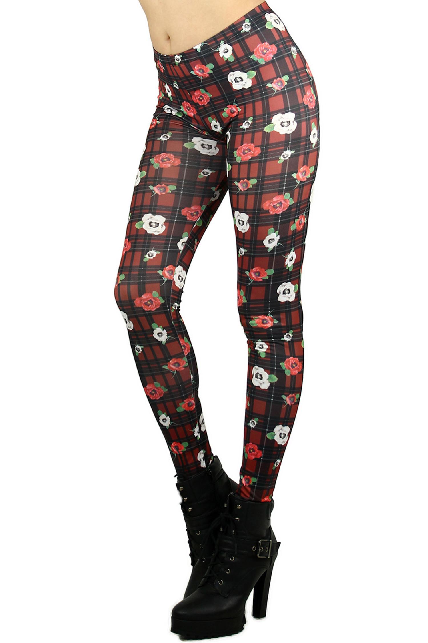 Floral Plaid Leggings