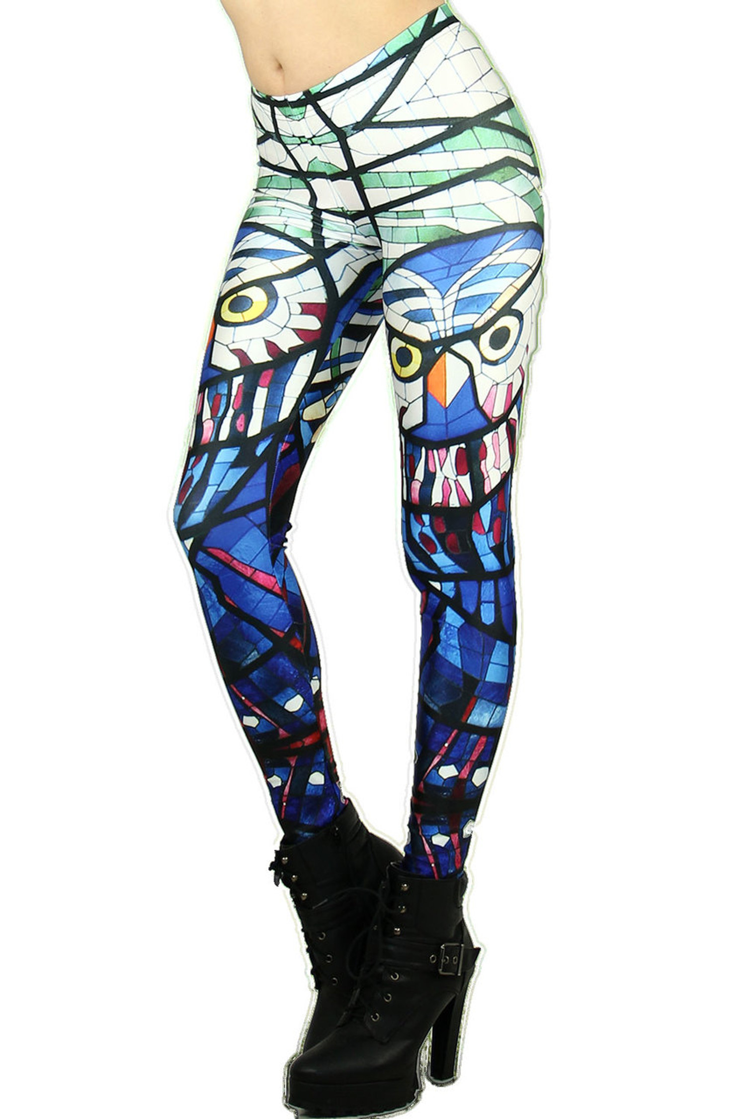 Colorful Mosaic Owl Leggings