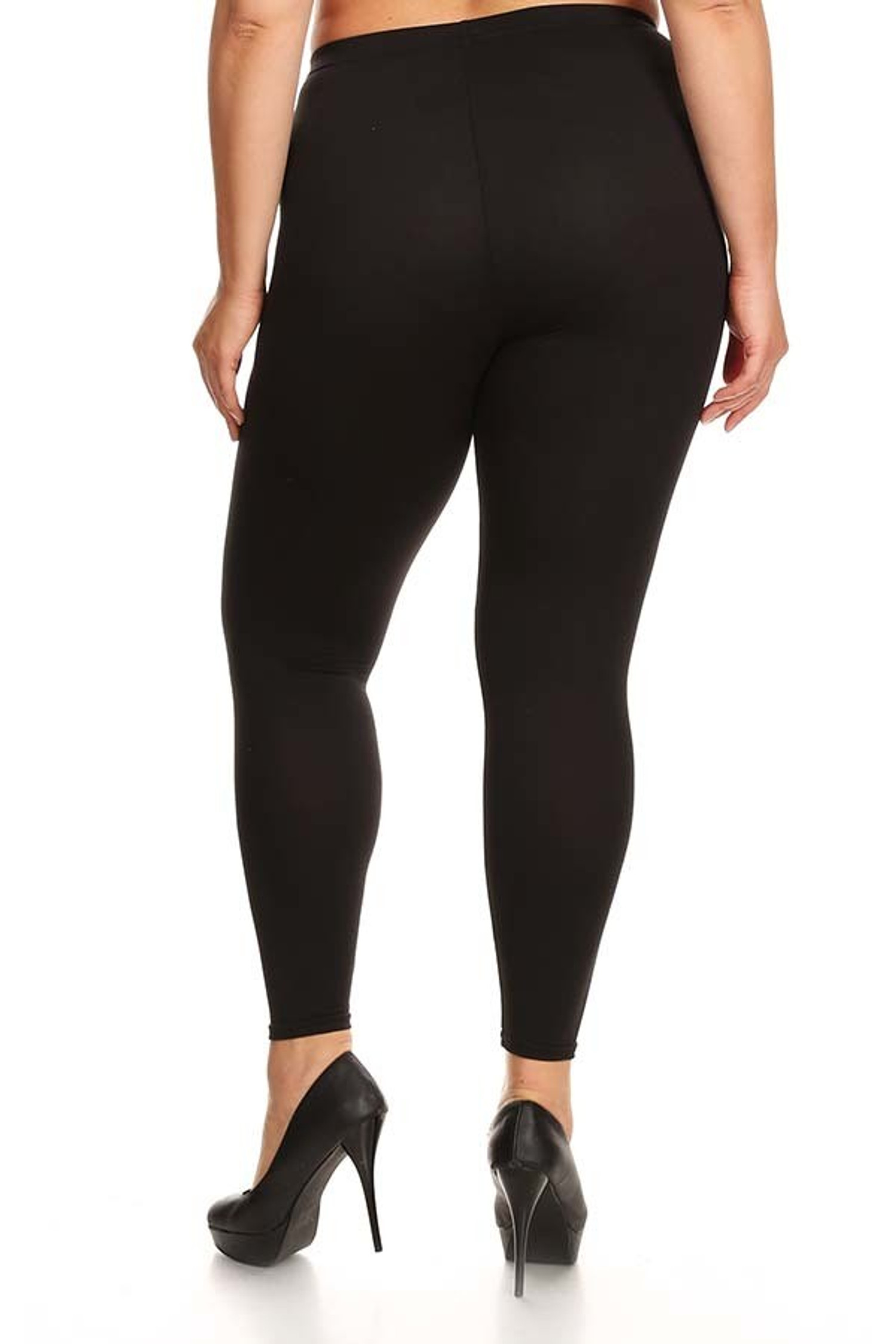 Solid Poly Brushed Basic Leggings - Plus Size