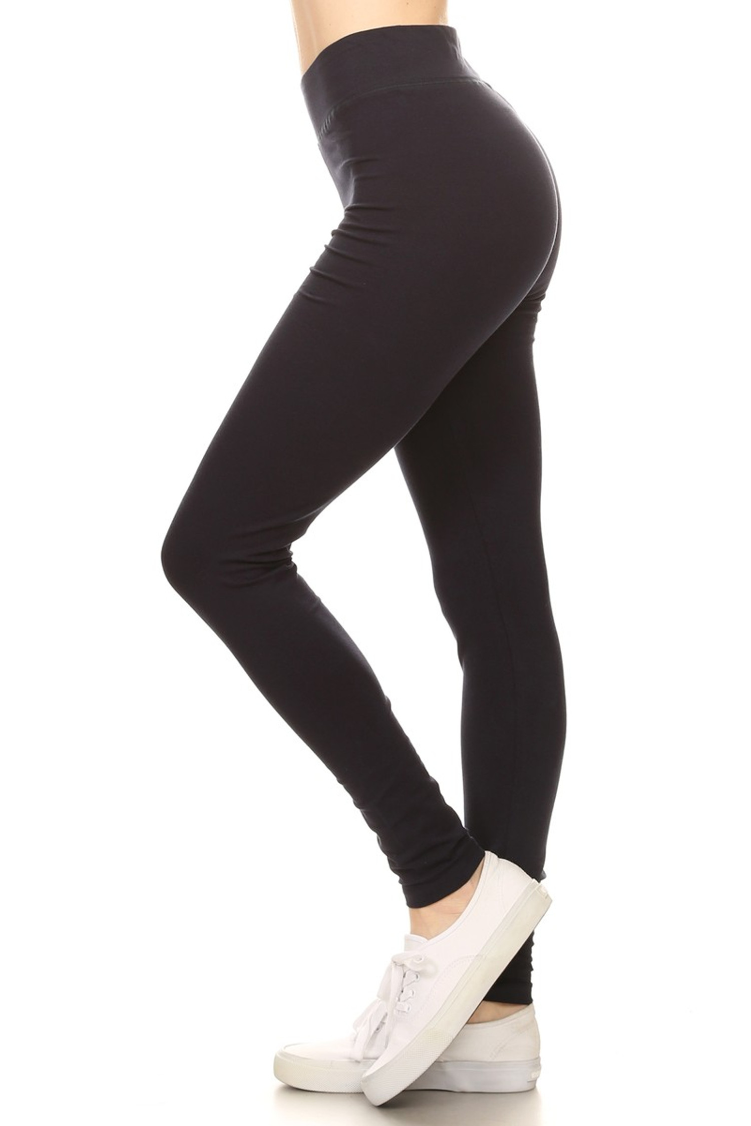 Side image of Navy High Waisted Cotton Sport Leggings
