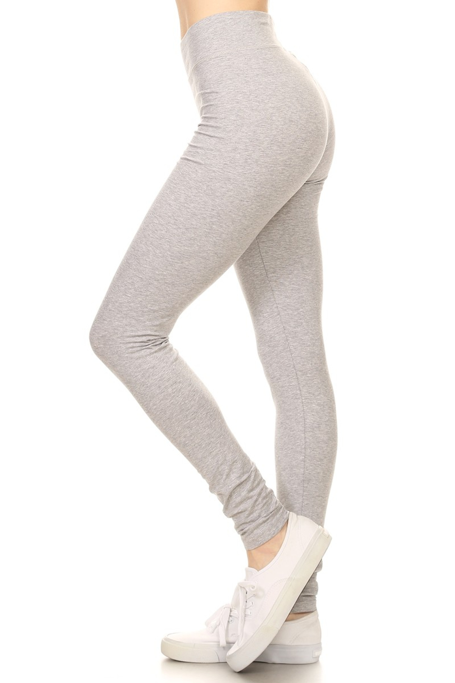 Side image of Heather Gray High Waisted Cotton Sport Leggings