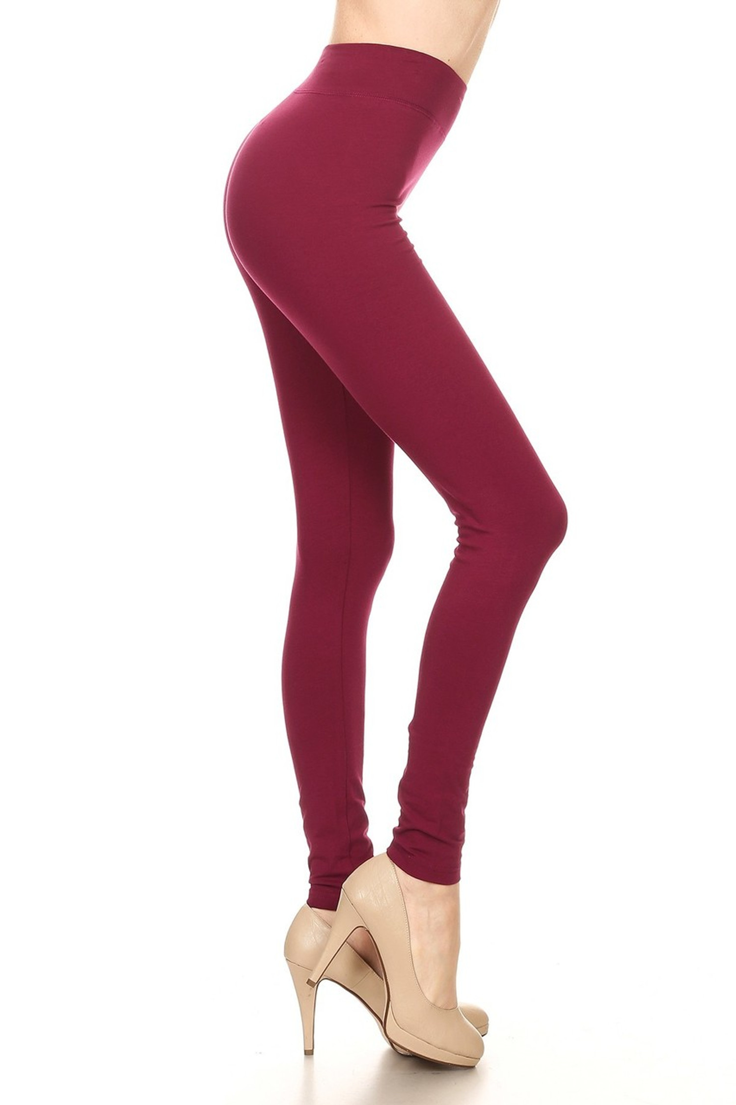 Side image of Burgundy High Waisted Cotton Sport Leggings
