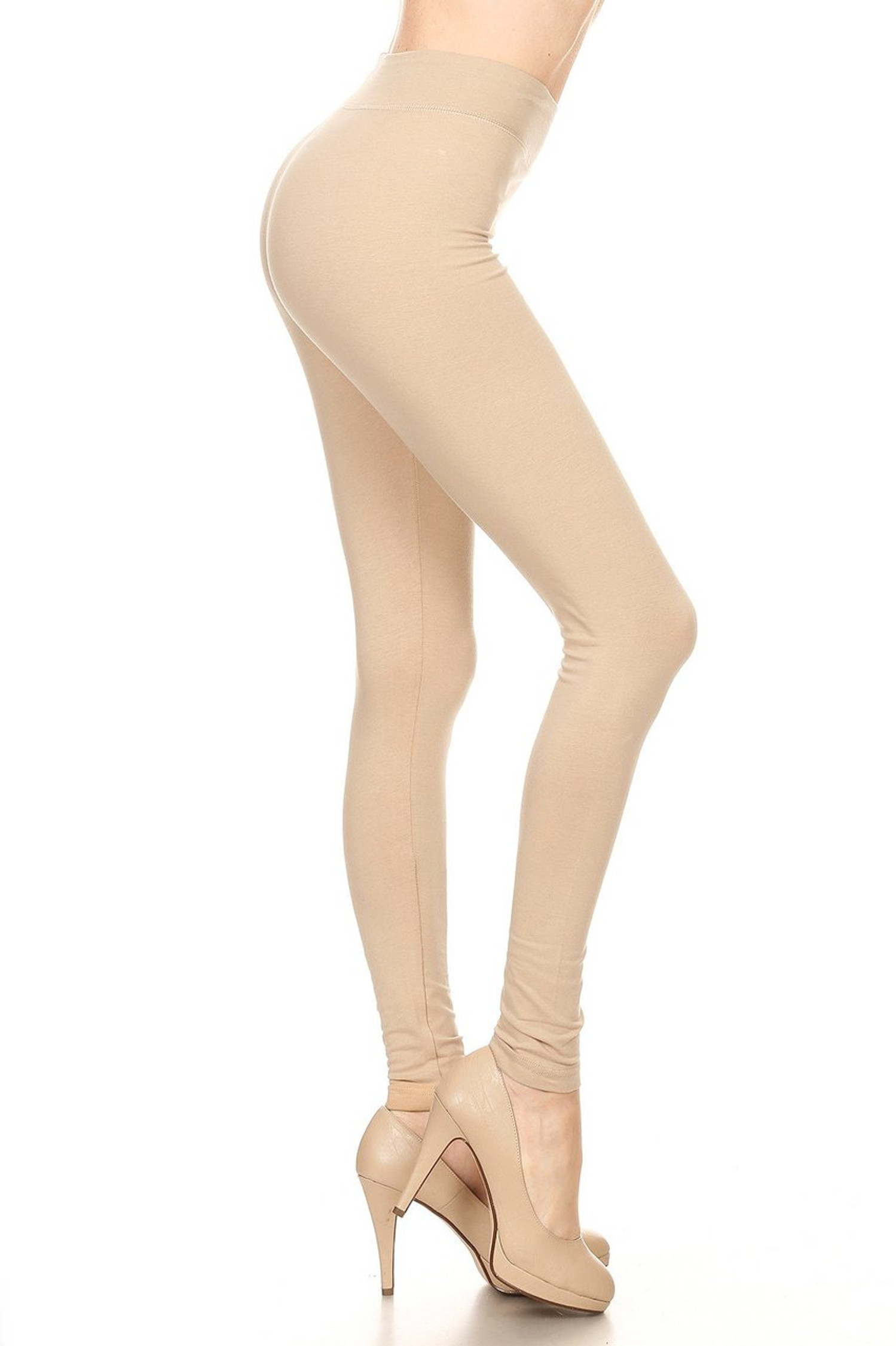 Side image of Beige High Waisted Cotton Sport Leggings
