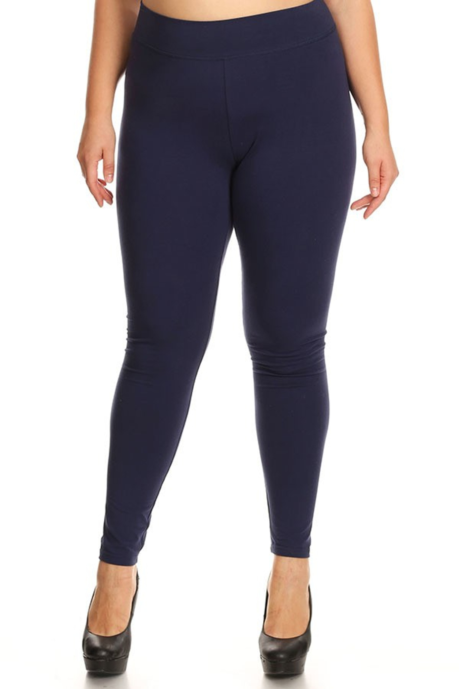 High Waisted Cotton Sport Leggings  - Plus Size