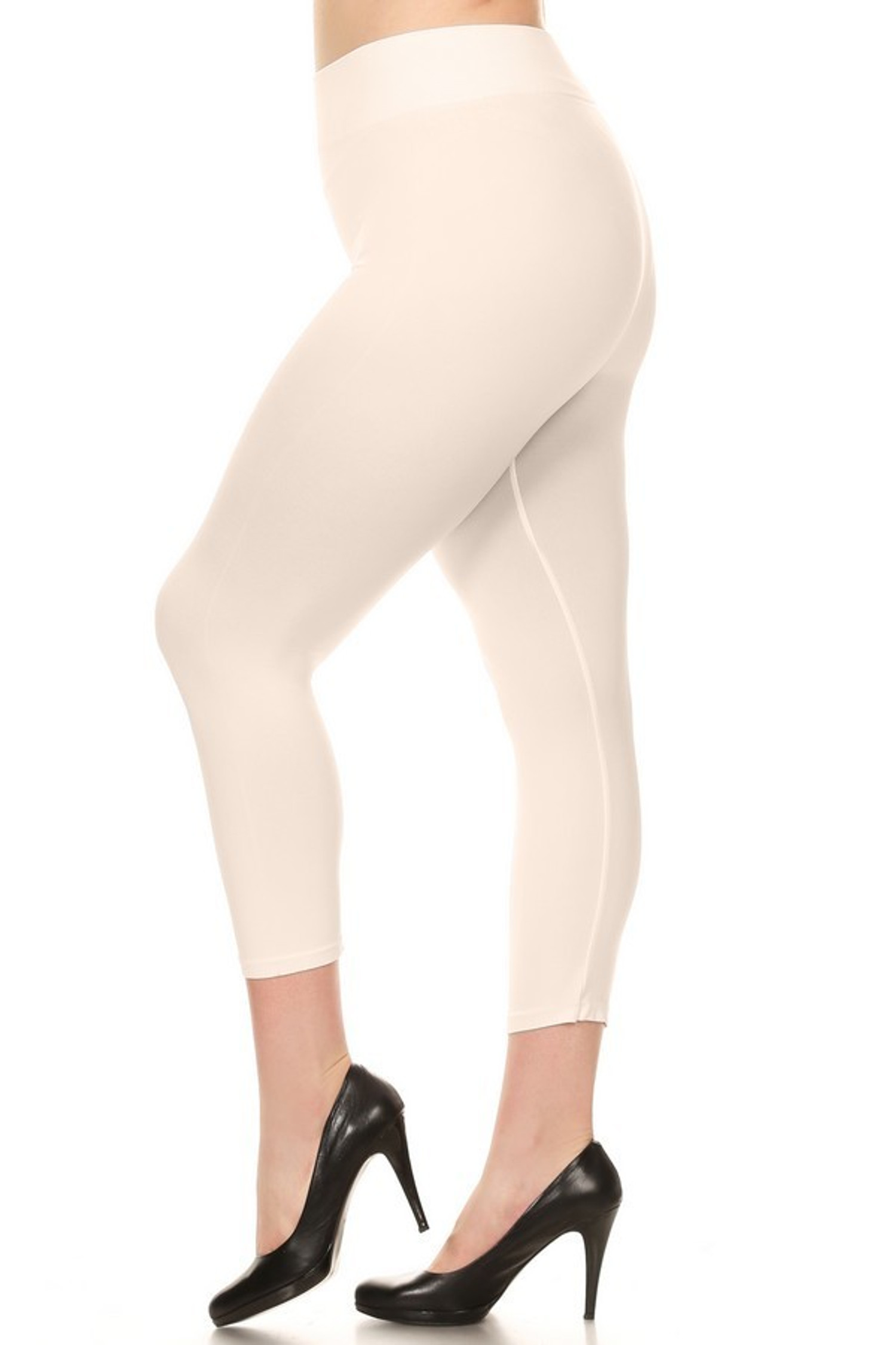 Ivory Basic Spandex Capri Plus Size Leggings