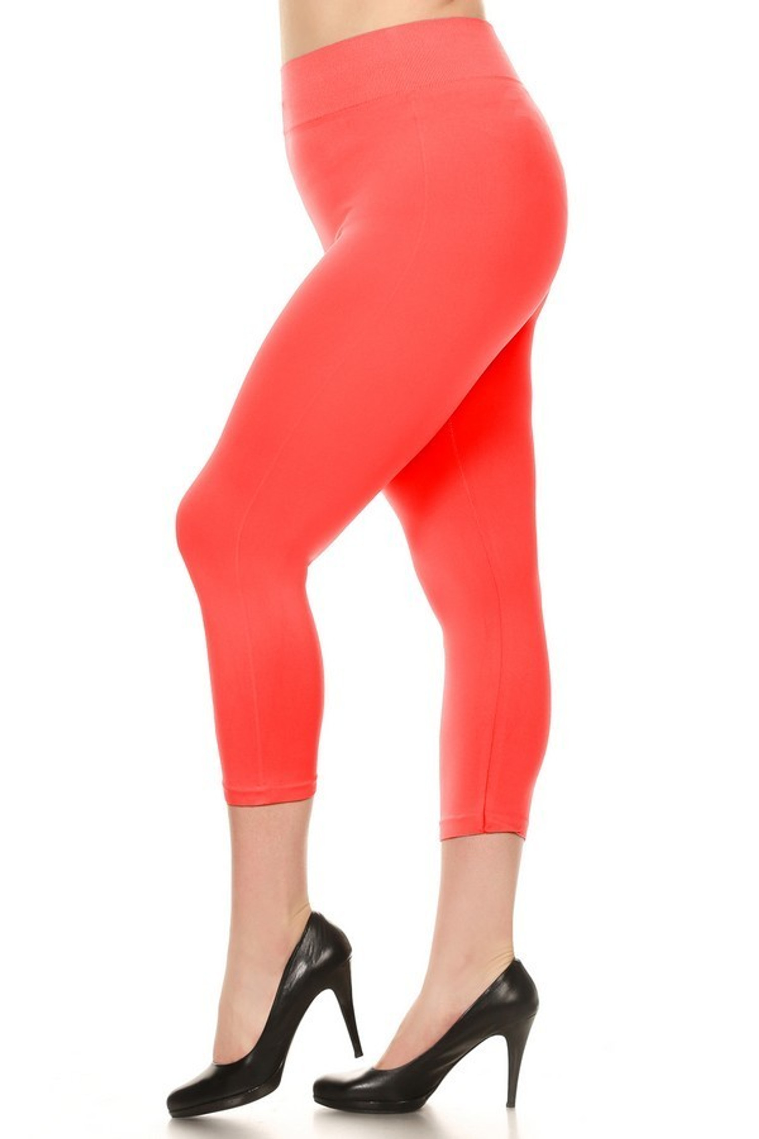 Coral Basic Spandex Capri Plus Size Leggings
