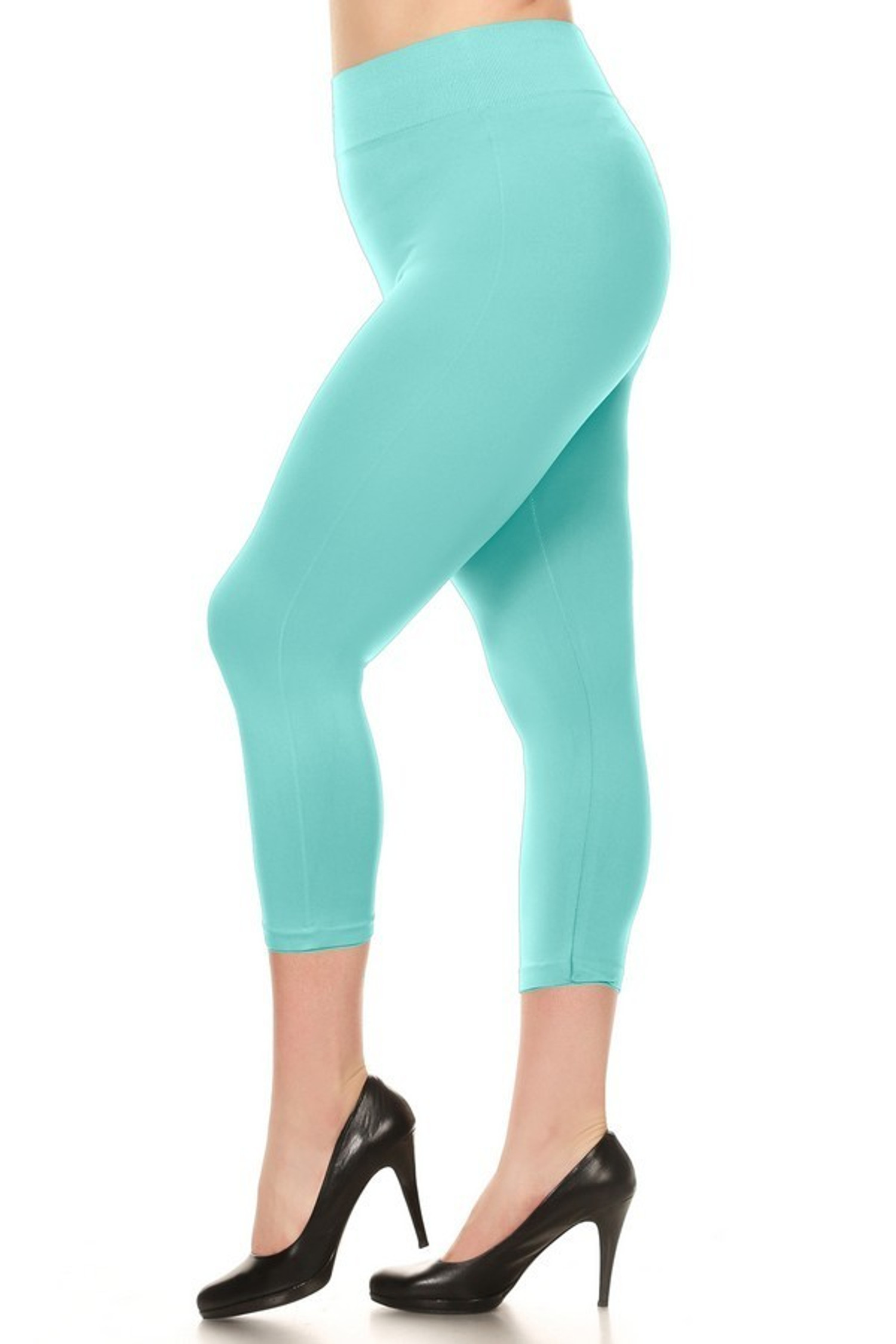 Mint Basic Spandex Capri Plus Size Leggings