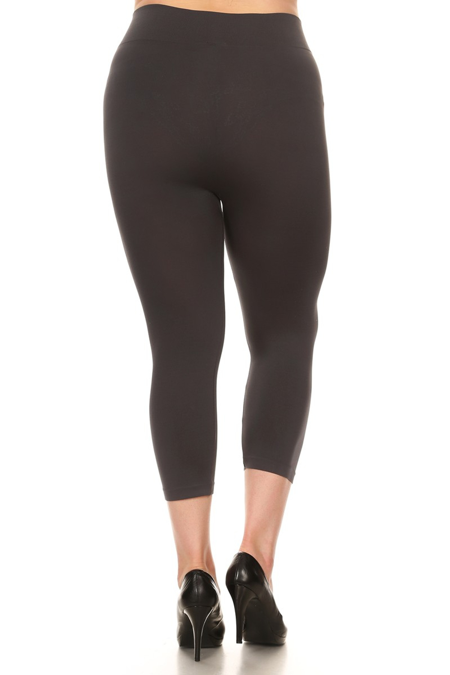 Charcoal Basic Spandex Capri Plus Size Leggings