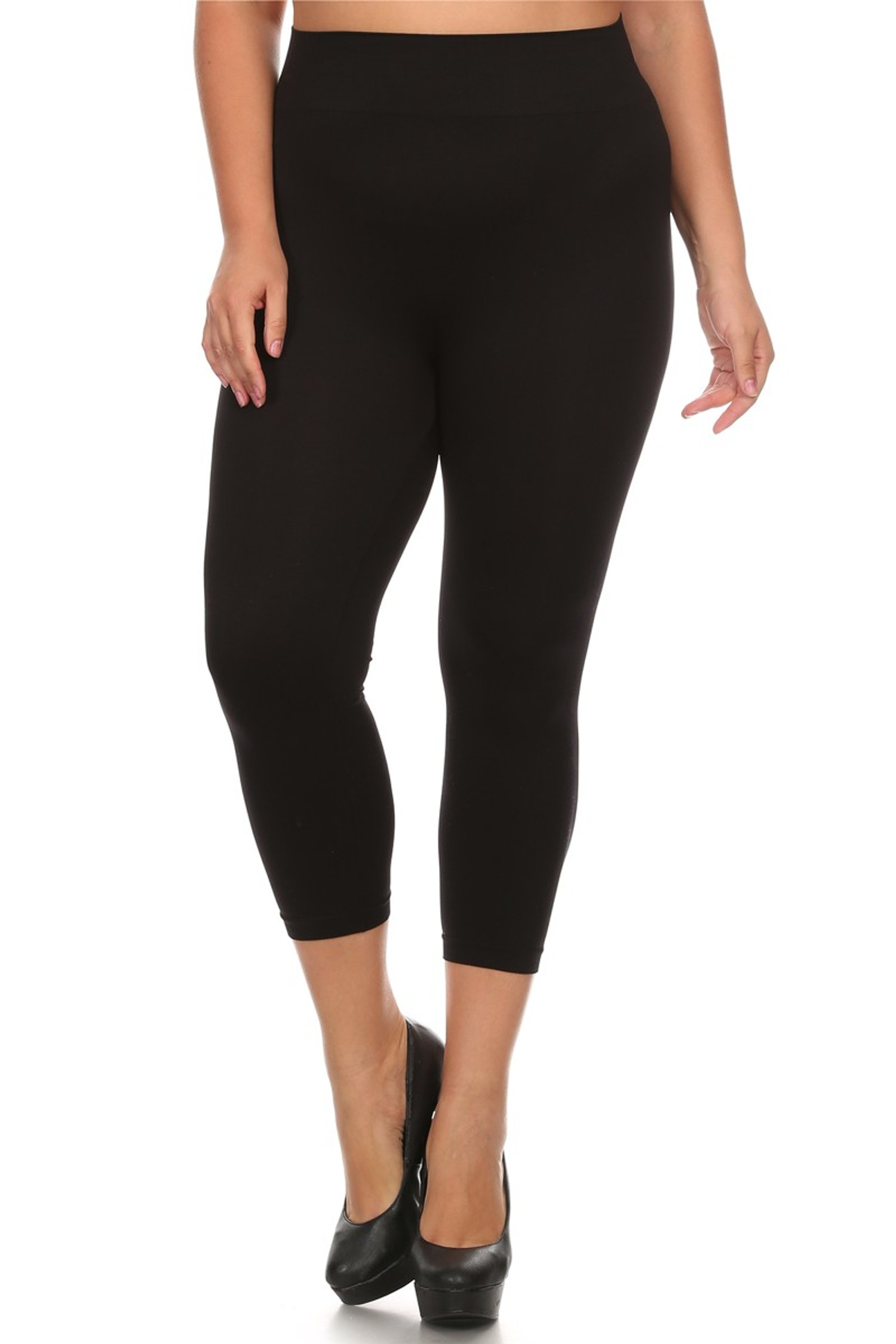 Black Basic Spandex Capri Plus Size Leggings