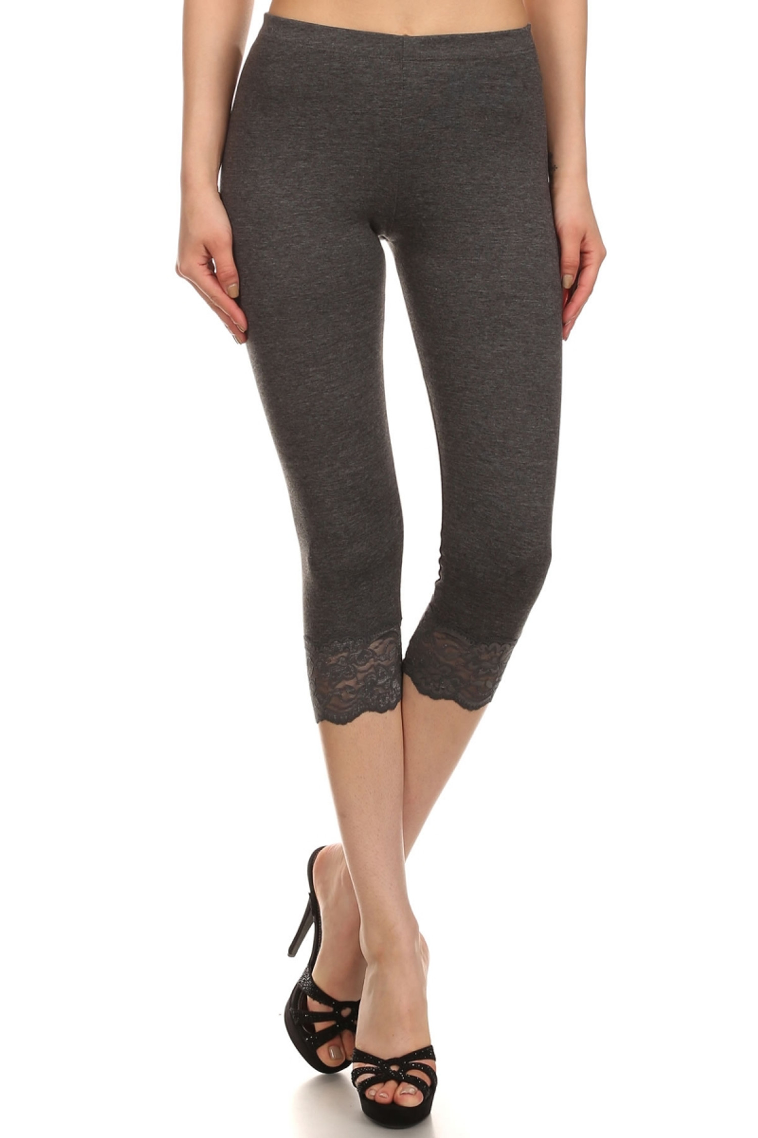 Charcoal USA Cotton Capri Lace Leggings