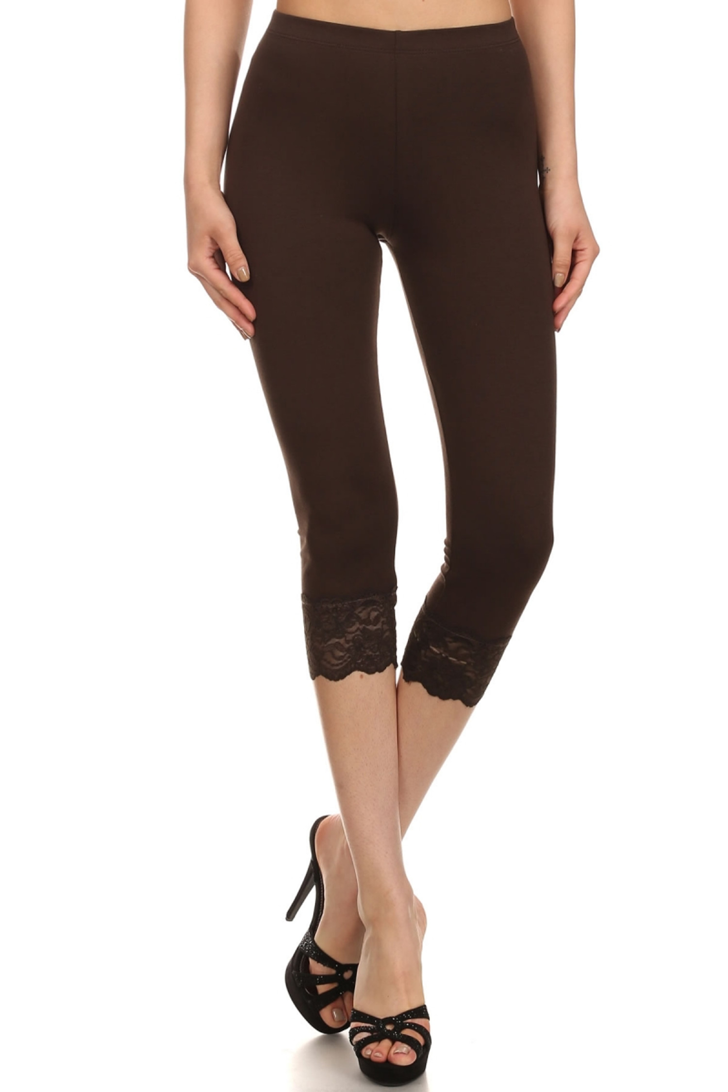 Brown USA Cotton Capri Lace Leggings