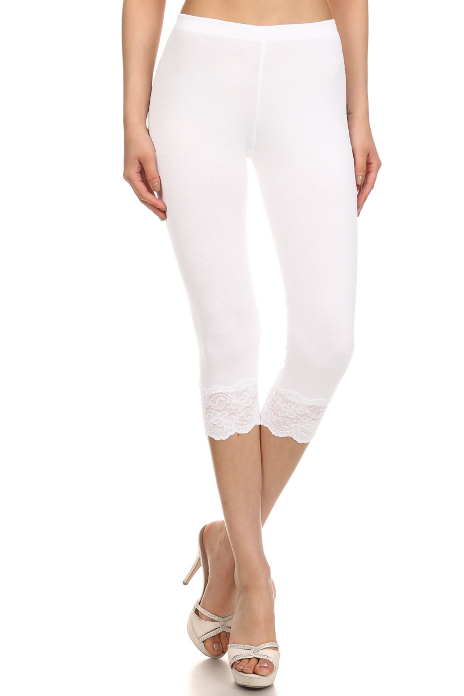 White USA Cotton Capri Lace Leggings