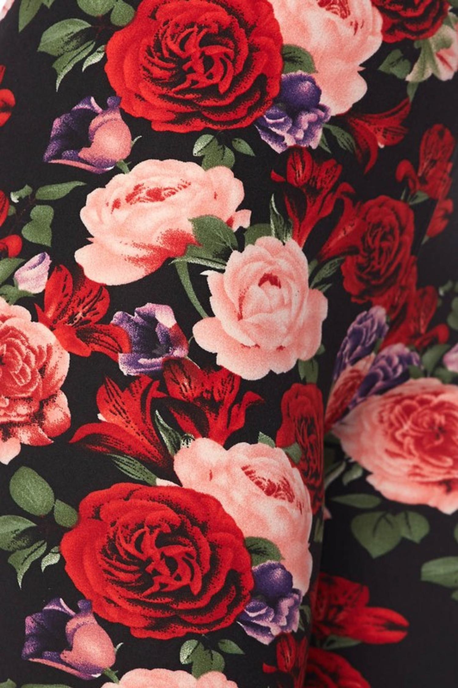 Vivid Floral Rose Capris