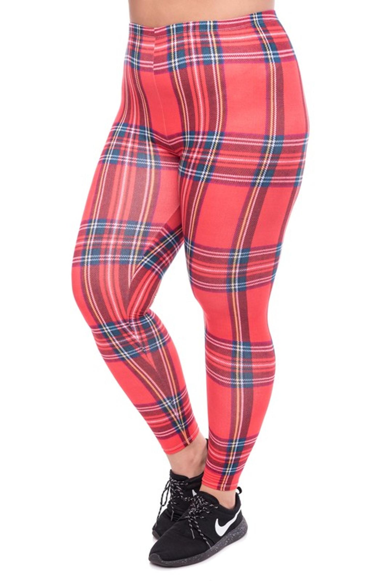Everyday Red Plaid Leggings - Plus Size