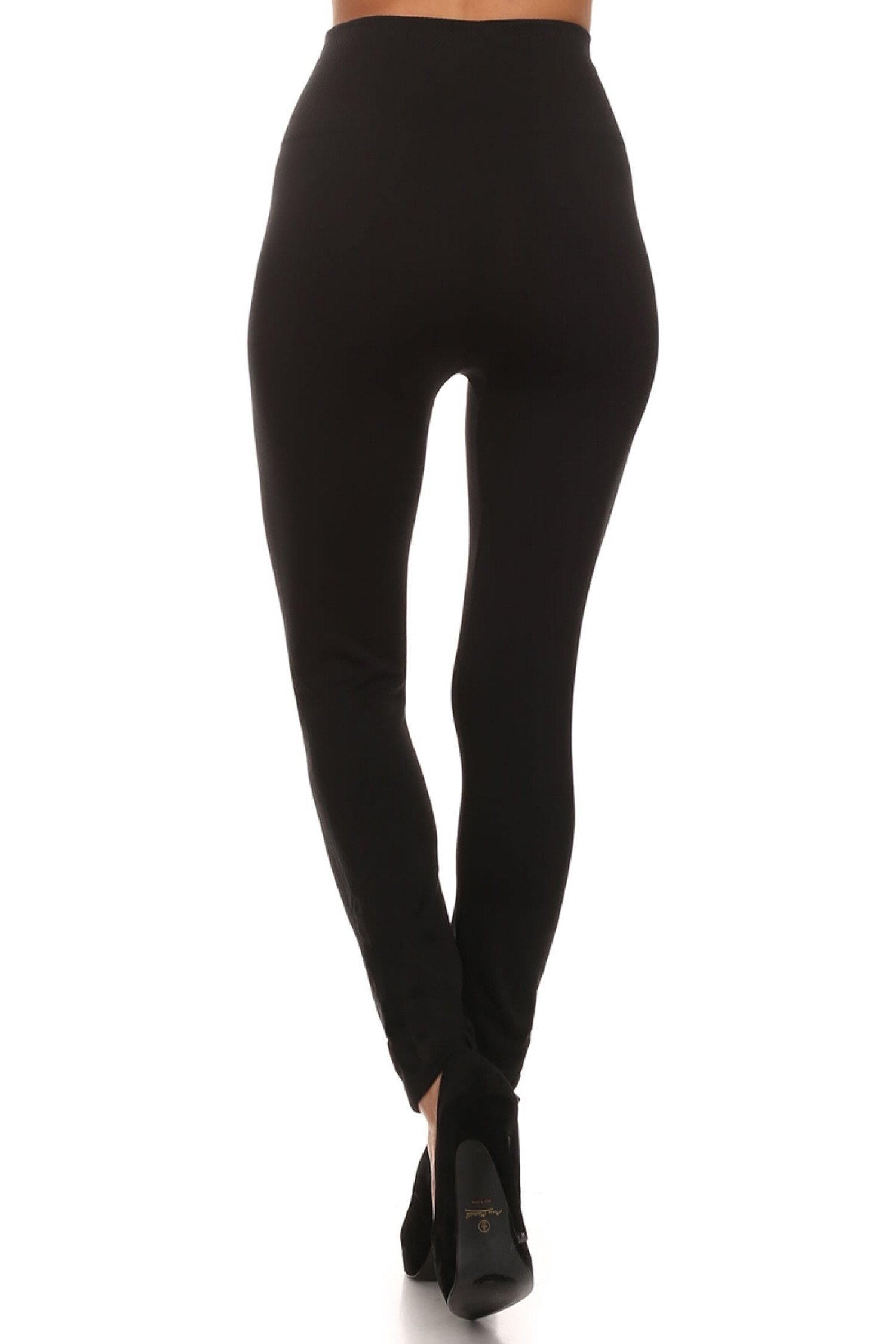 Rear image of our Black Banded High Waisted Fleece Lined Leggings showing the ribbed high waisted fabric waist band and soft and comfortable full length fit of the fleece fabric