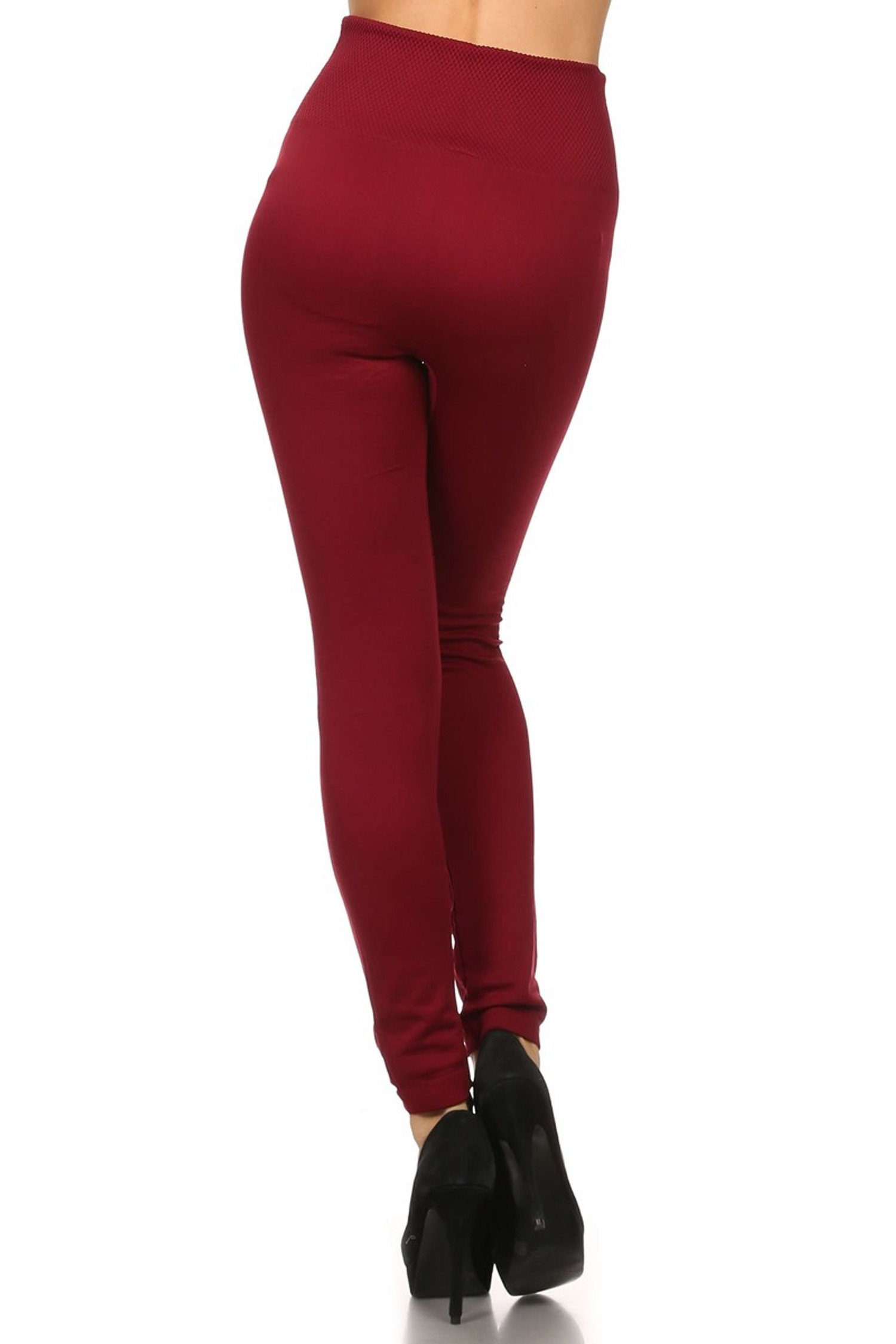 Rear image of our Burgundy Banded High Waisted Fleece Lined Leggings showing the ribbed high waisted fabric waist band and soft and comfortable full length fit of the fleece fabric