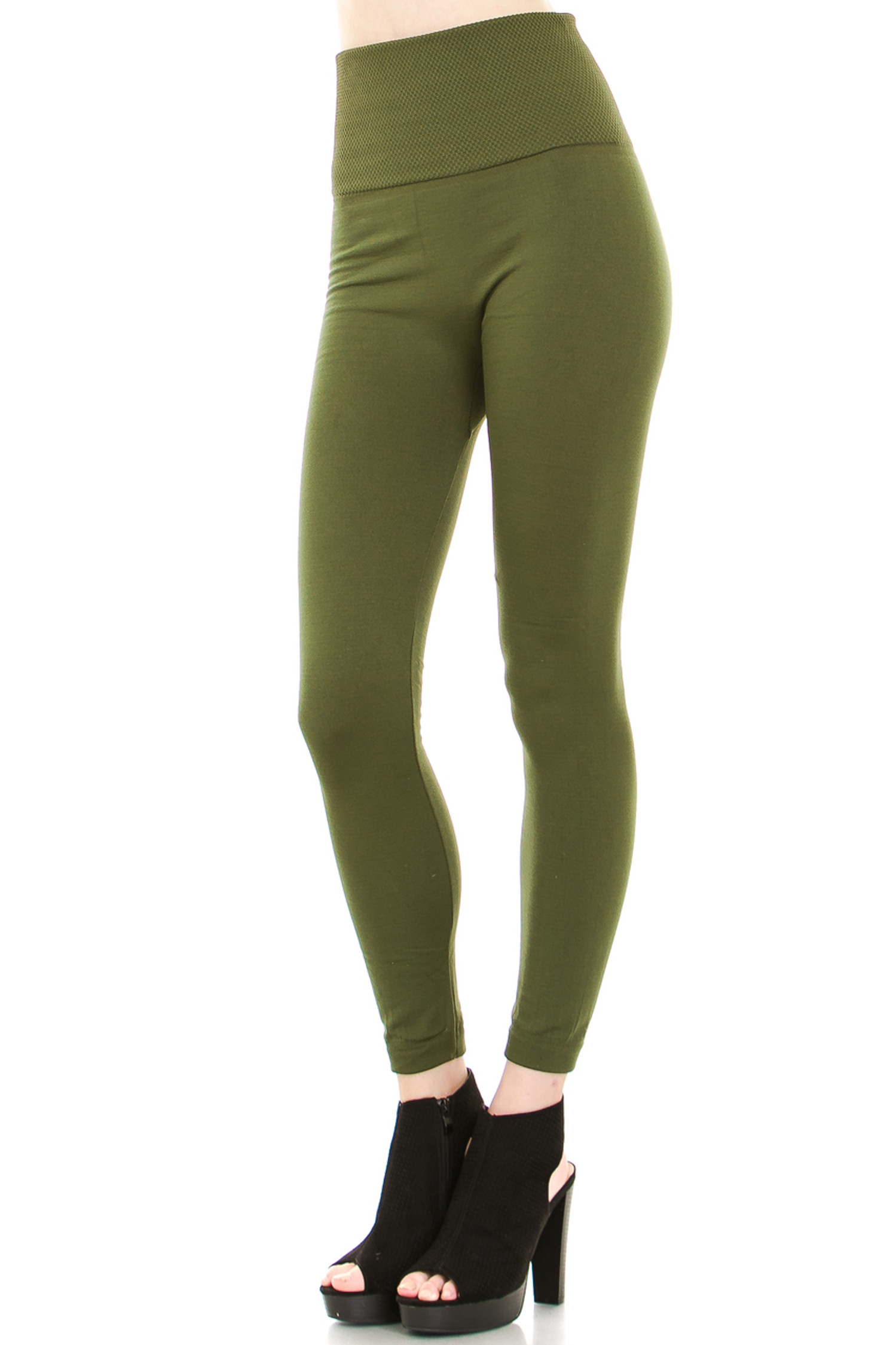 45 degree image of our Olive Banded High Waisted Fleece Lined Leggings showing the ribbed high waisted fabric waist band and full length Olive fleece legging
