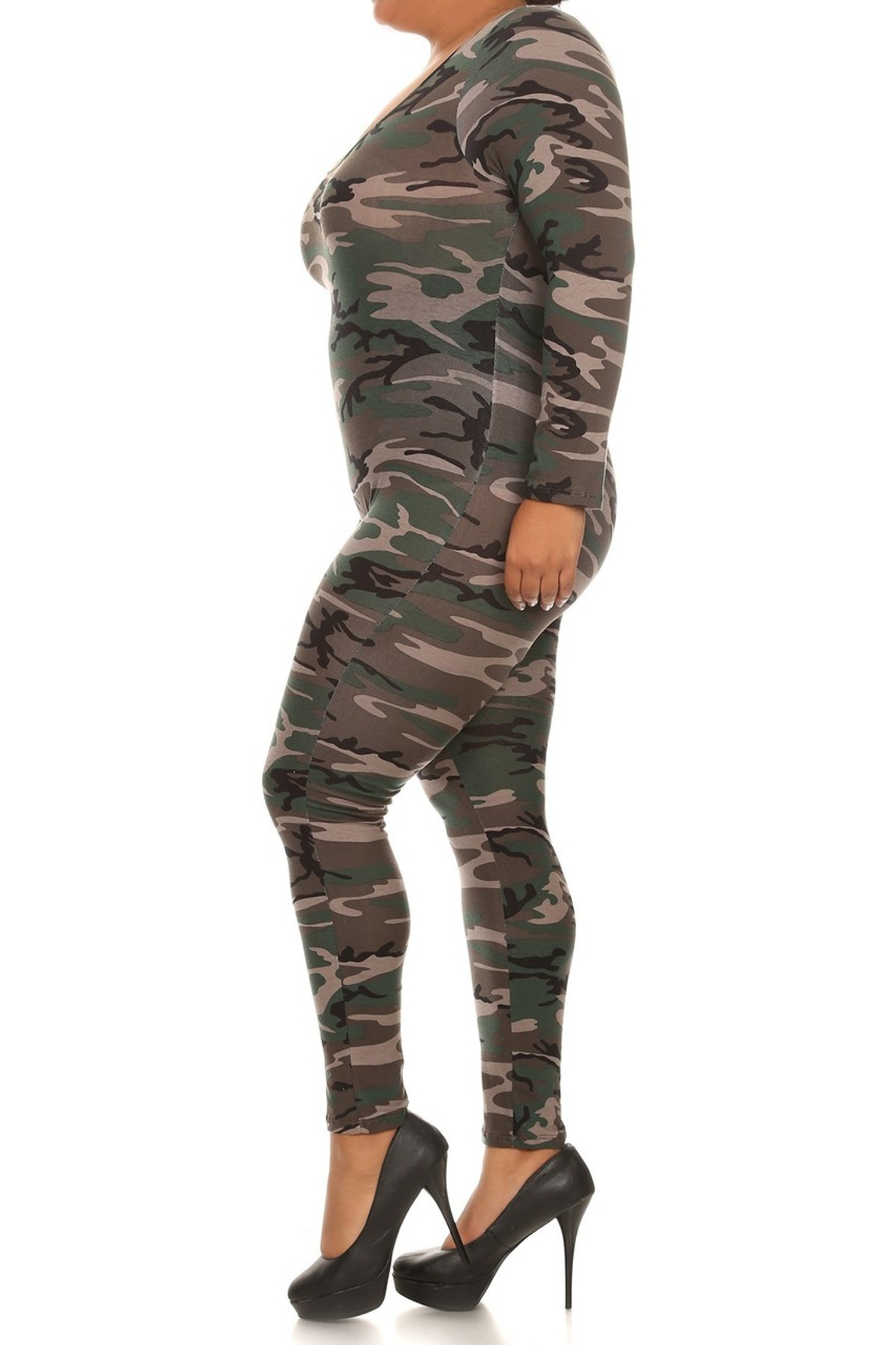 Side image of our plus size Camouflage Full Jumpsuit with its all over authentic camo print, full body coverage and made in the USA