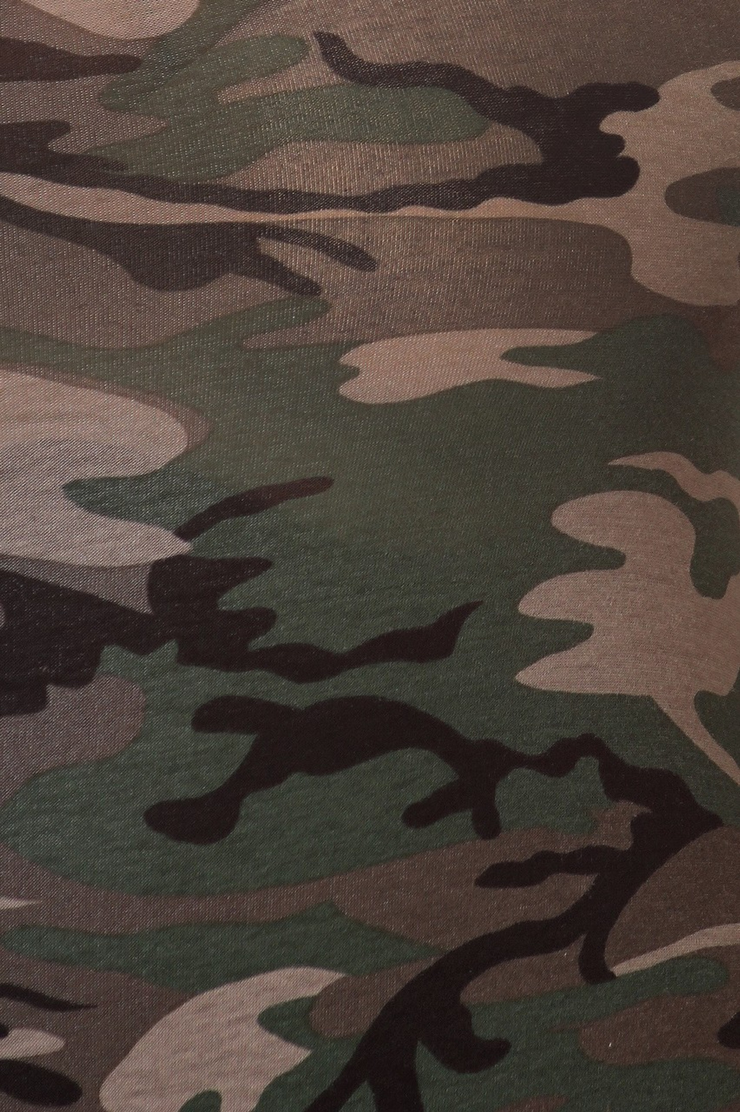 Close-up image of our plus size Camouflage Full Jumpsuit detailing the authentic camouflage print