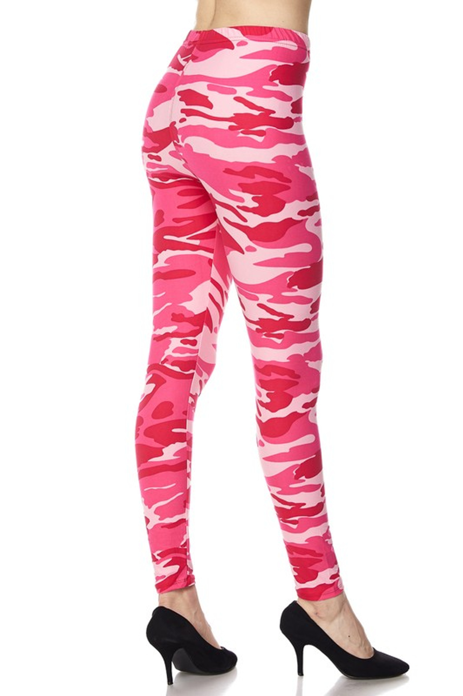 Wholesale Buttery Soft Pink Plus Size Pink Camouflage LeggingsLeggings