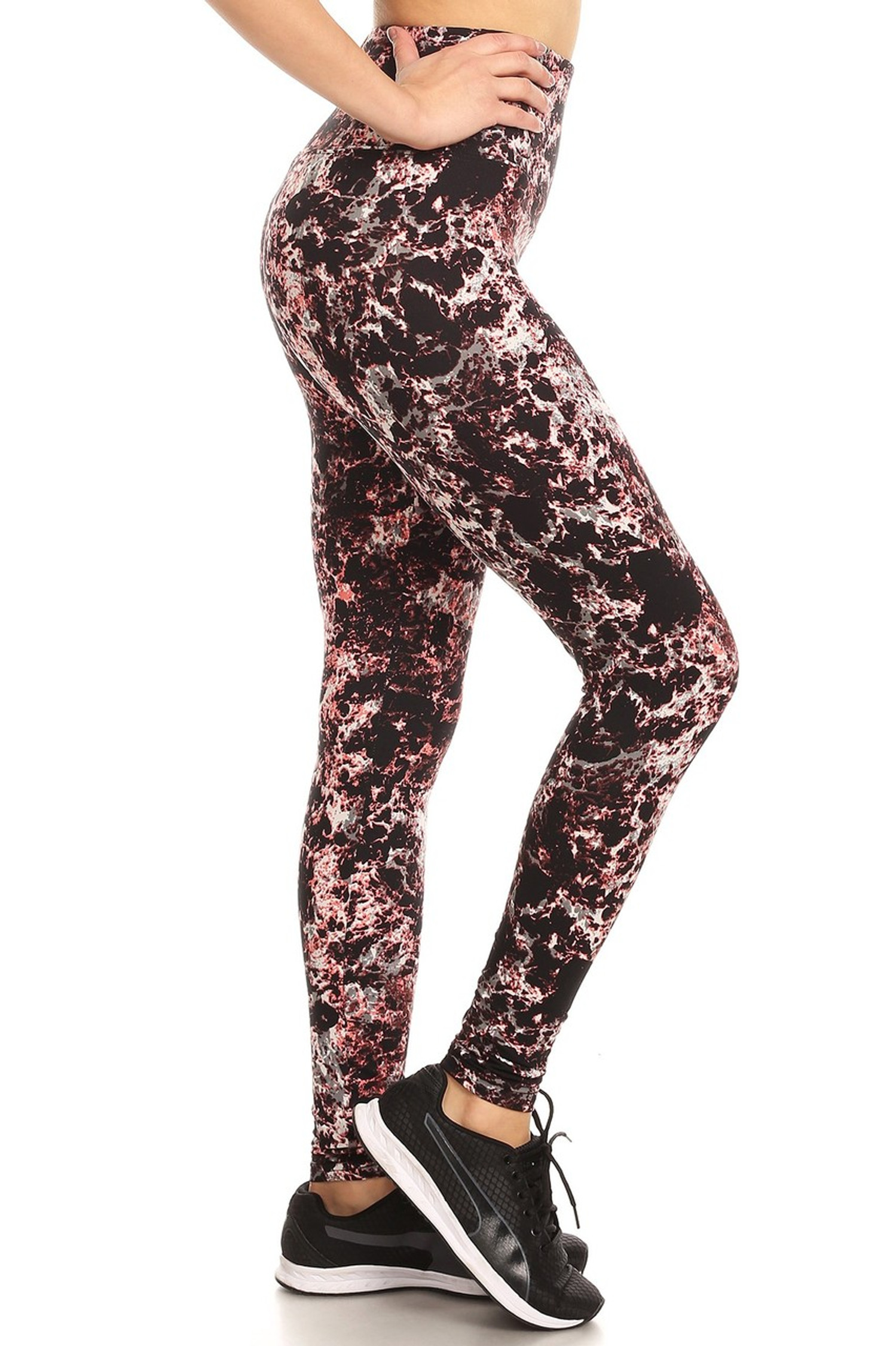 Wholesale Premium Brushed High Waisted Burgundy Marble Sport Leggings