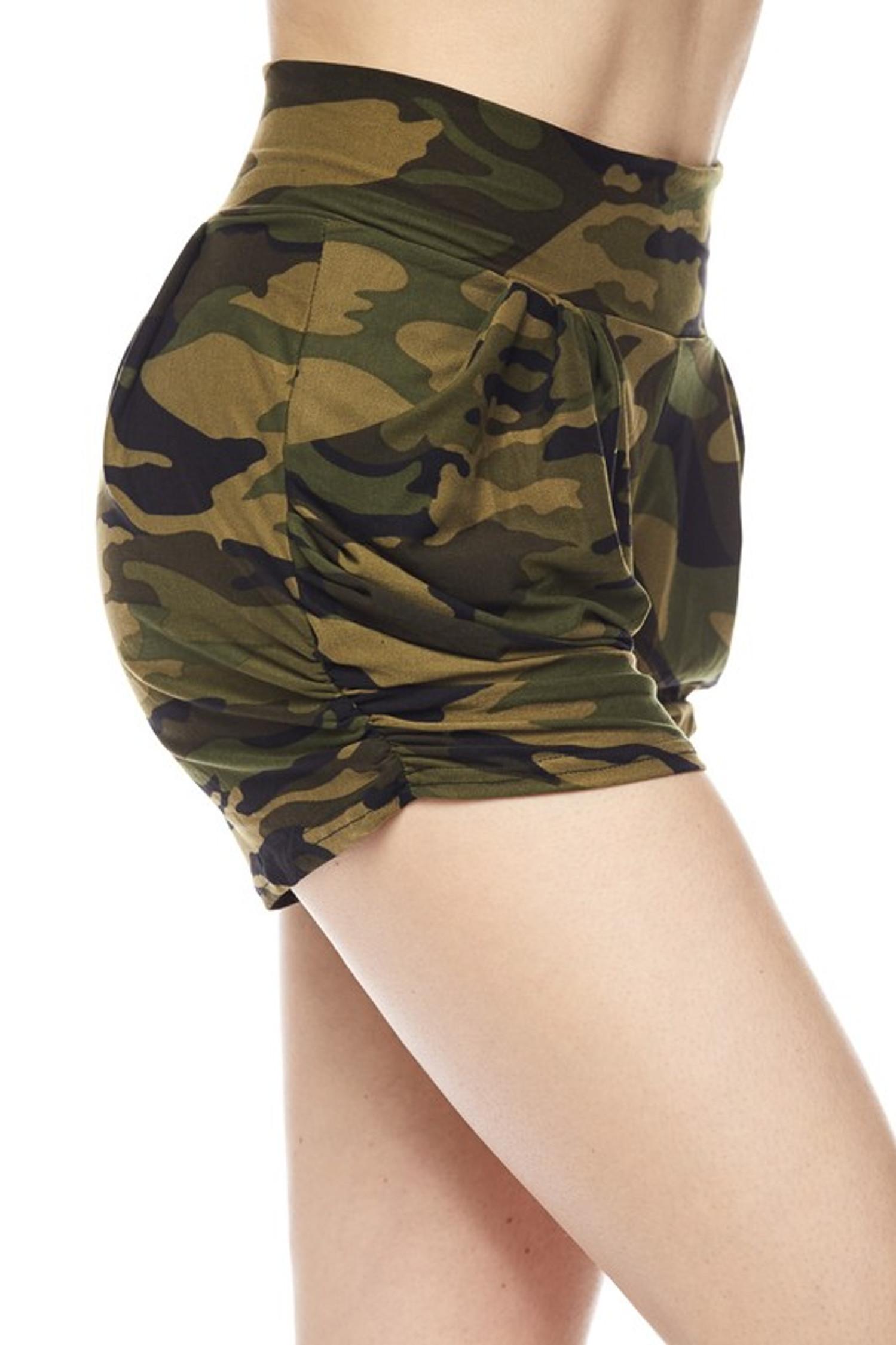 Green Camouflage Harem Shorts