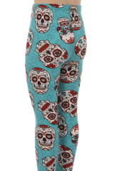 Teal Sugar Skull Kid's Leggings