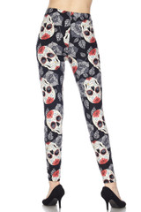 Rosette Sugar Skull Plus Size Leggings - 3X-5X