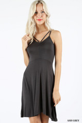 Premium Sleeveless V-Strap Rayon Skater Dress