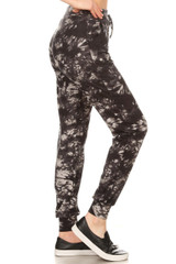 Brushed Black and Gray Tie Dye Joggers