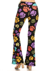 Brushed Paw Print Bell Bottom Leggings